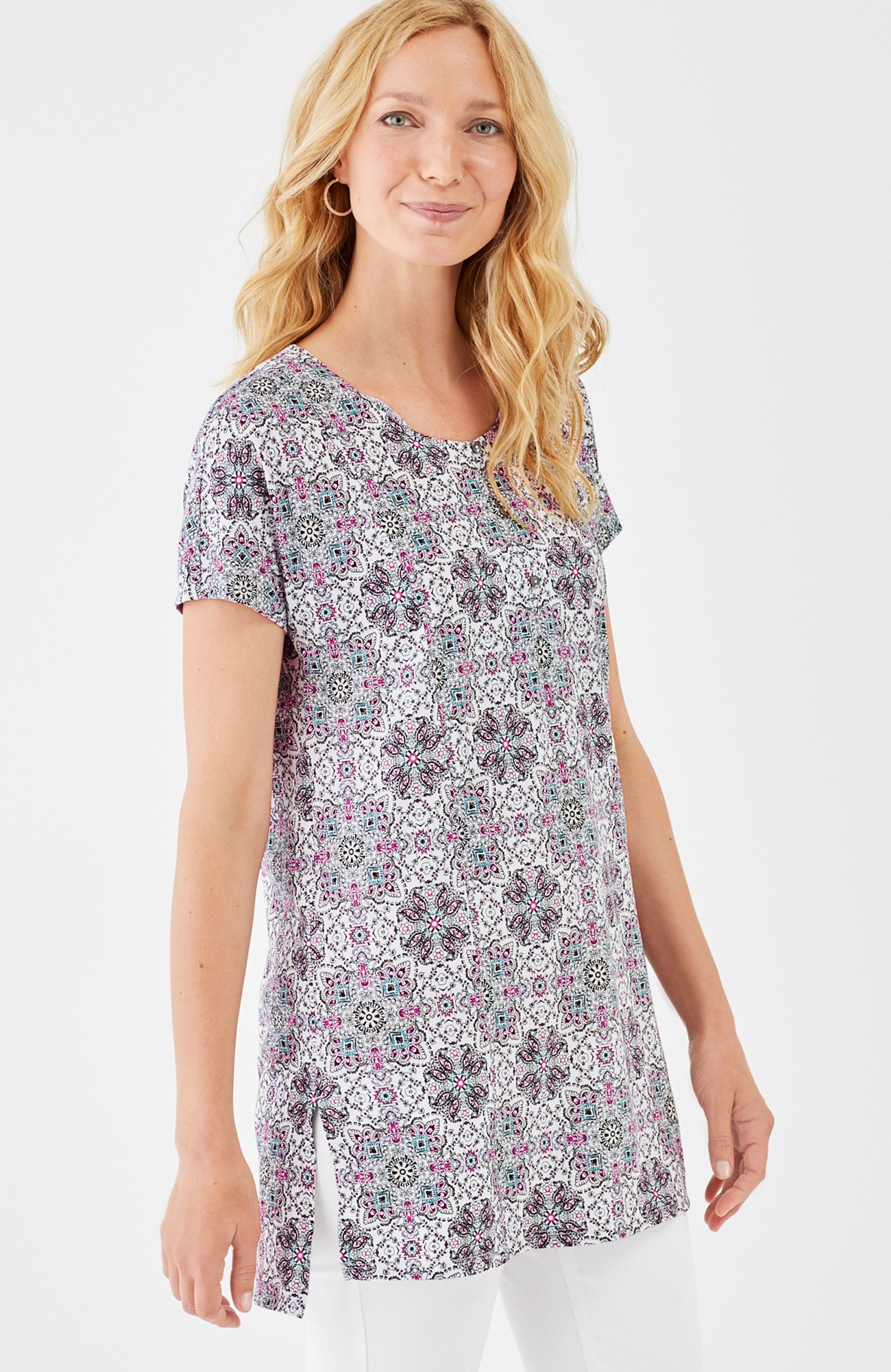 Cap-Sleeve Printed Knit Tunic