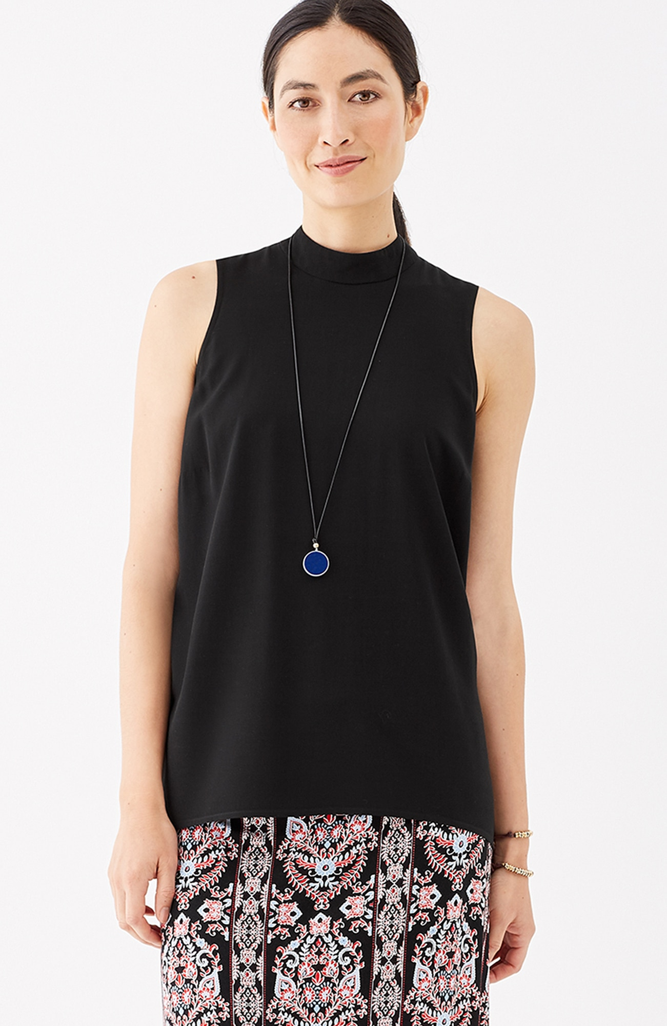 mock-neck sleeveless top
