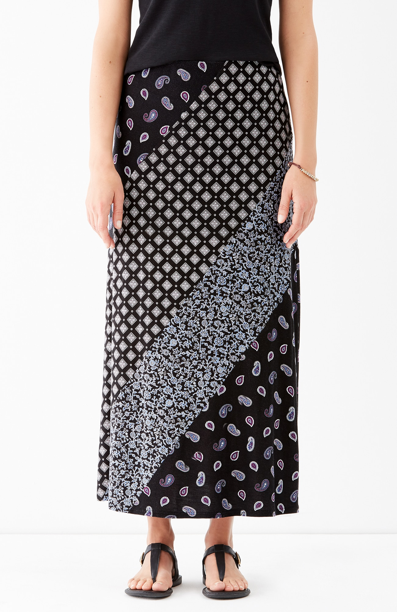 mixed-print maxi skirt
