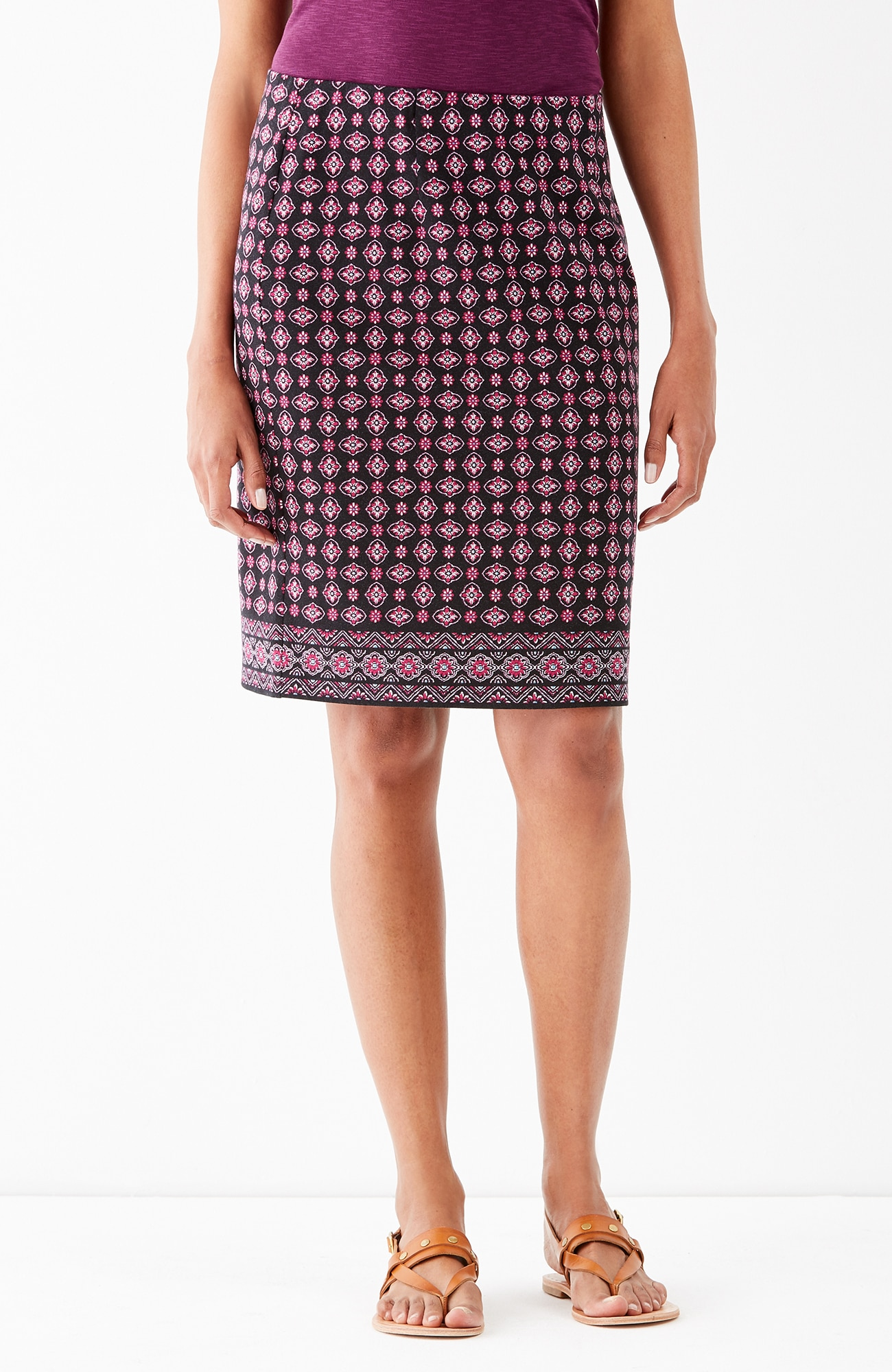 printed knit pencil skirt