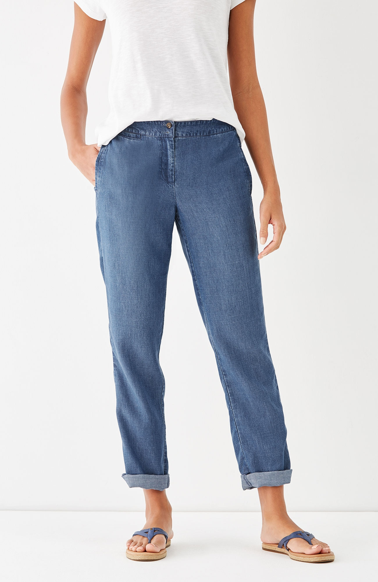 Tencel®-Soft indigo forward-seam pants