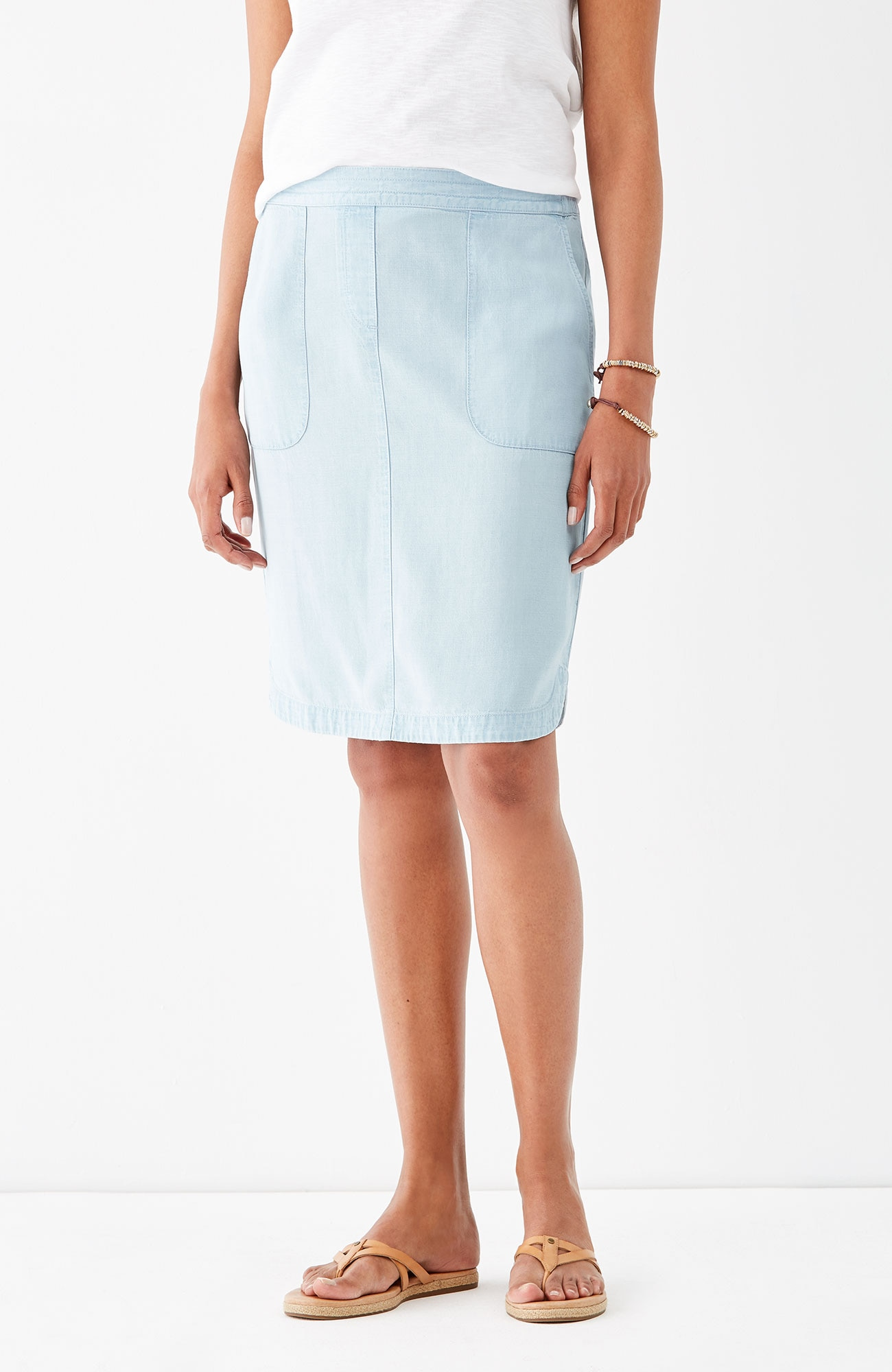 Tencel®-Soft indigo curved-hem skirt