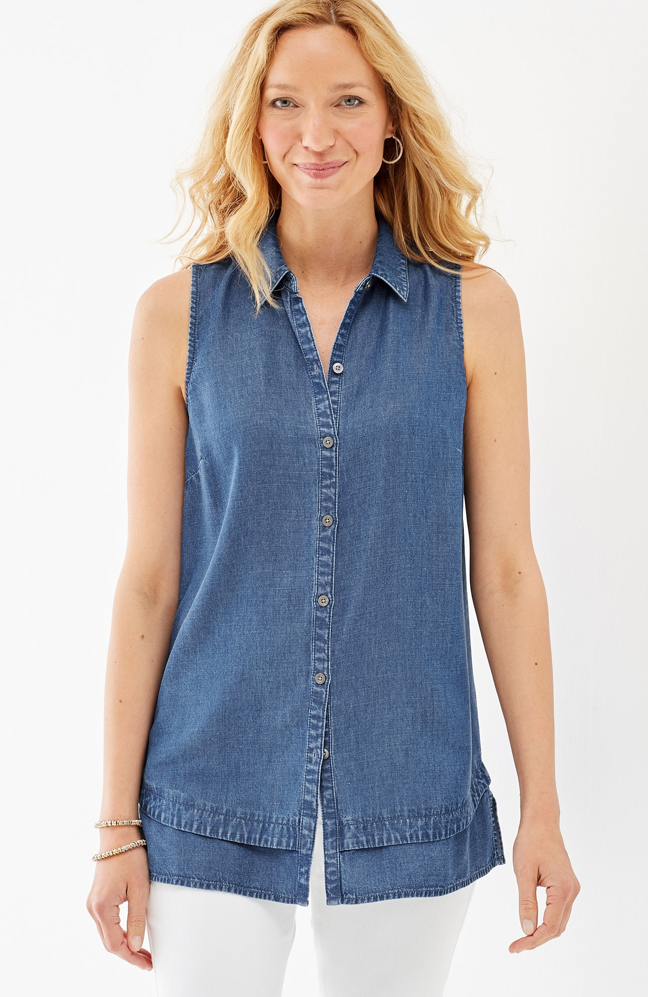 Tencel®-Soft indigo sleeveless shirt