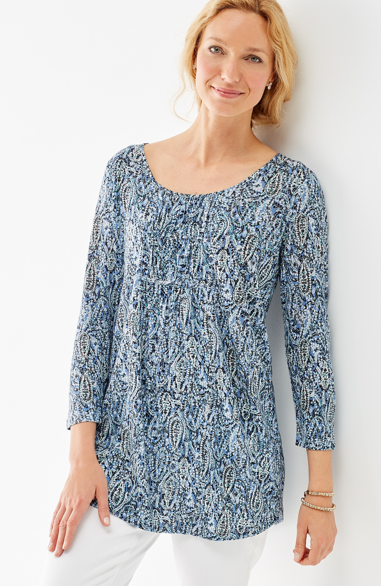 printed shirred knit tunic