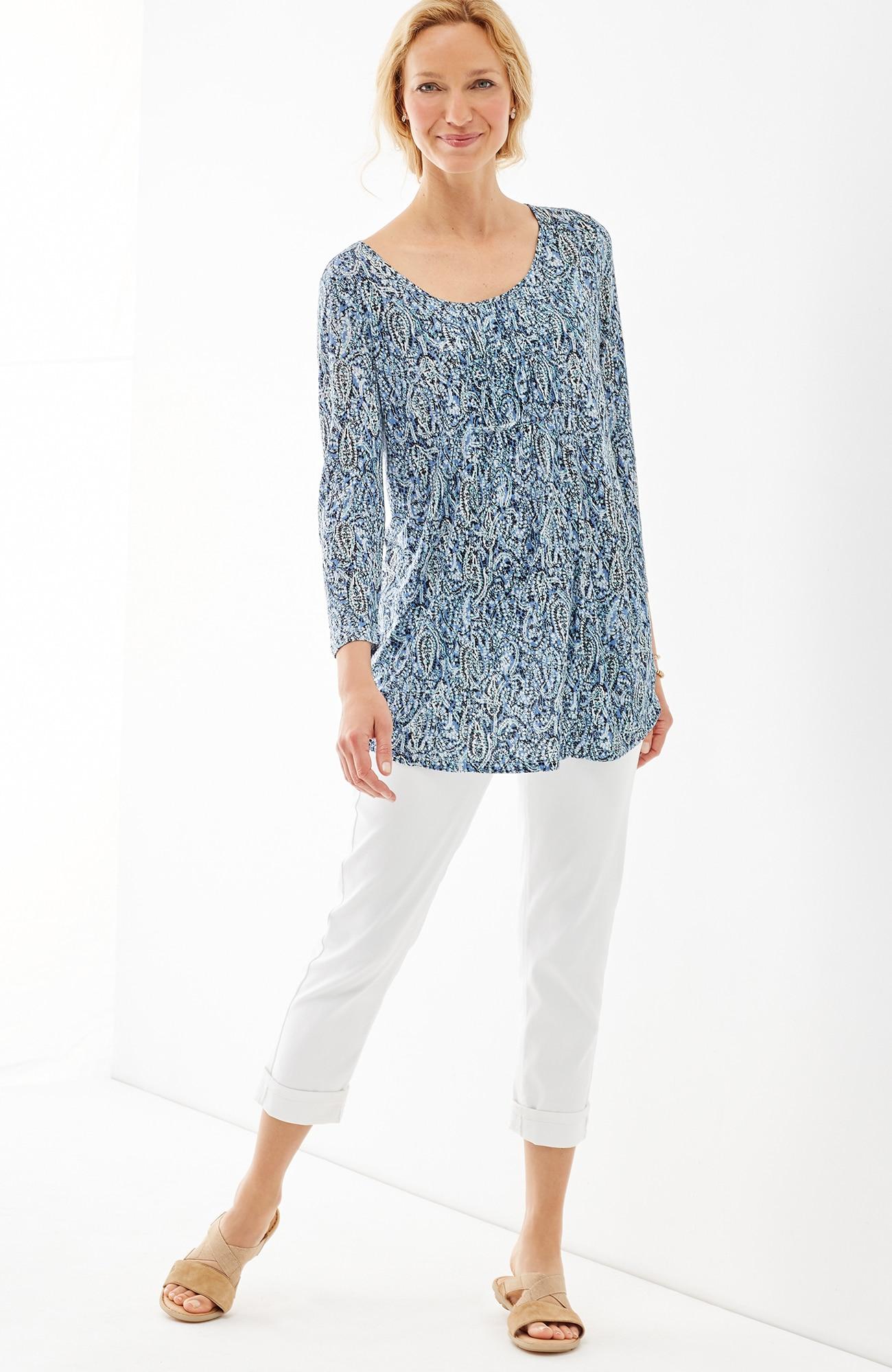 printed shirred knit tunic
