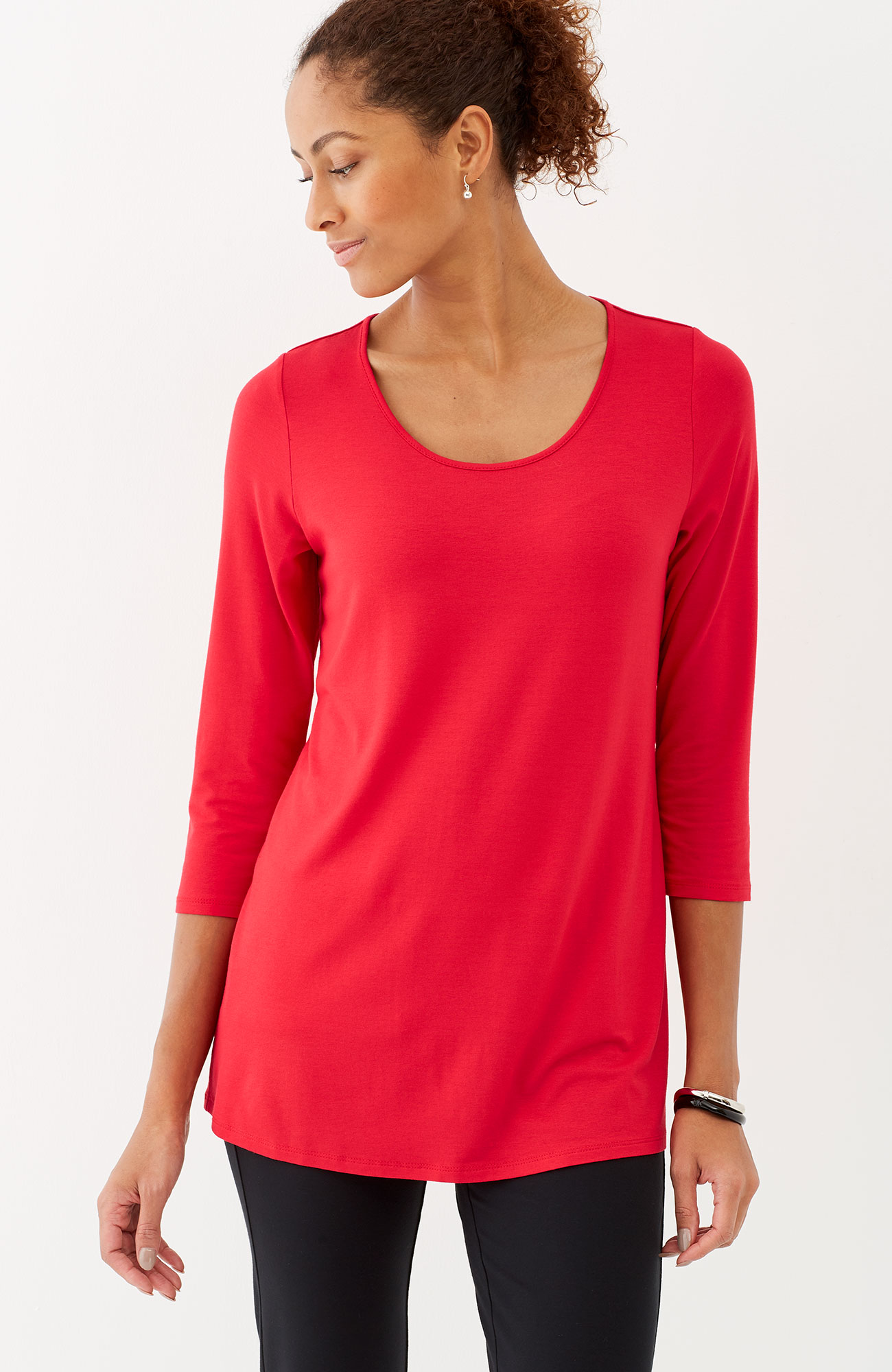 Wearever 3/4-sleeve pleated-back top