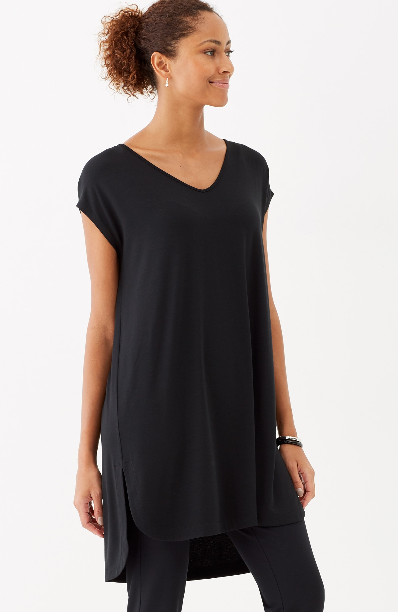 Wearever cap-sleeve shirttail tunic