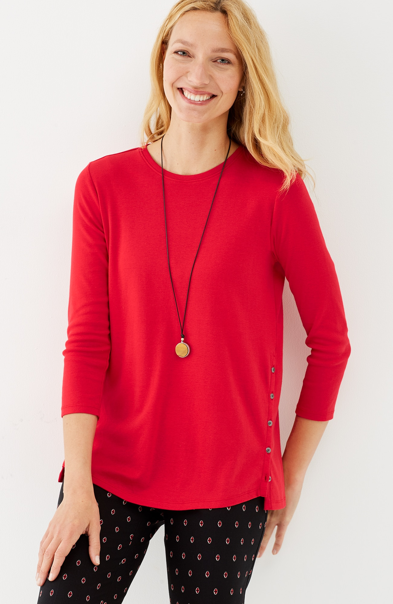 perfect pima side-button tee