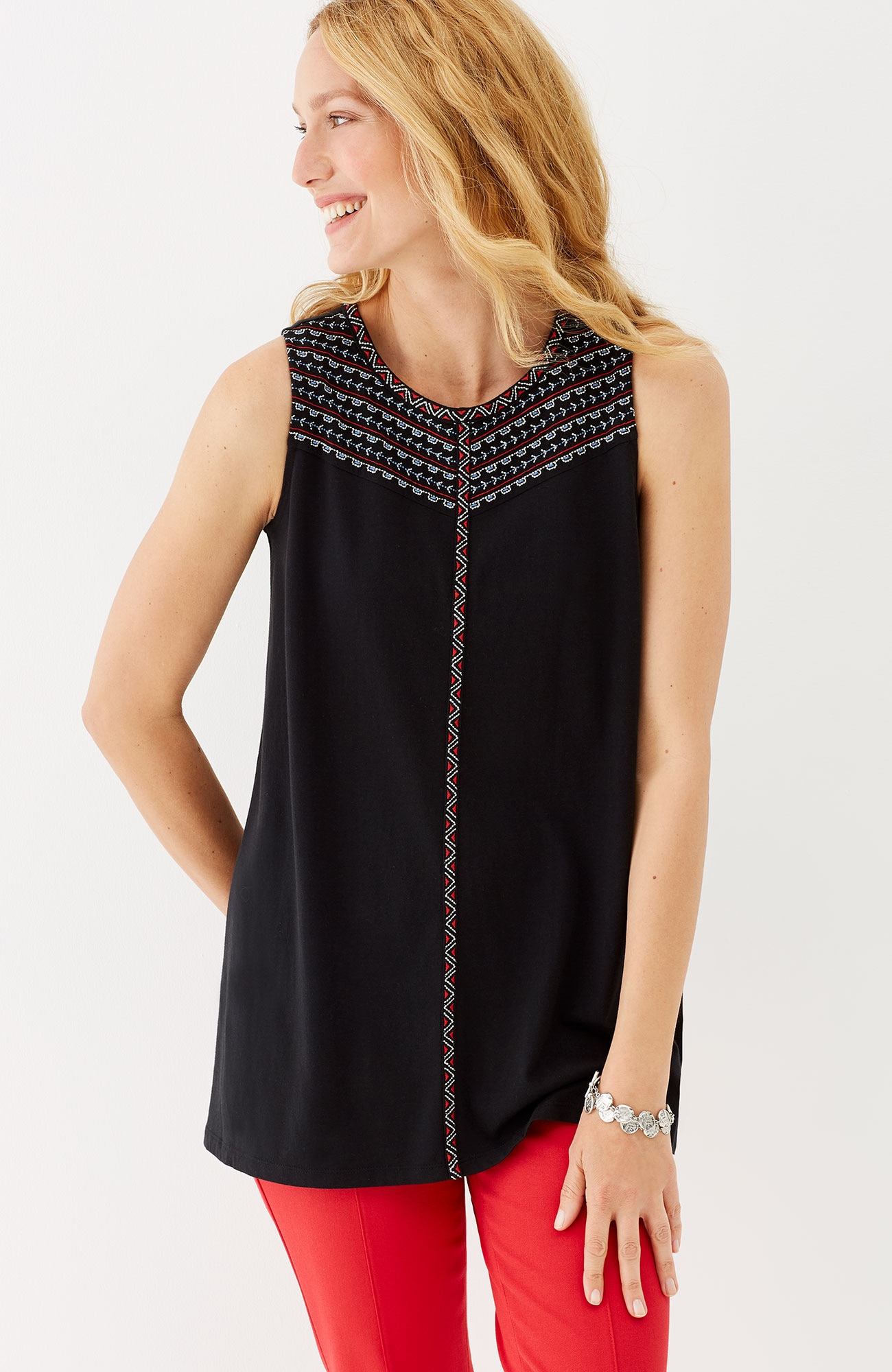embroidered dipped-hem tank