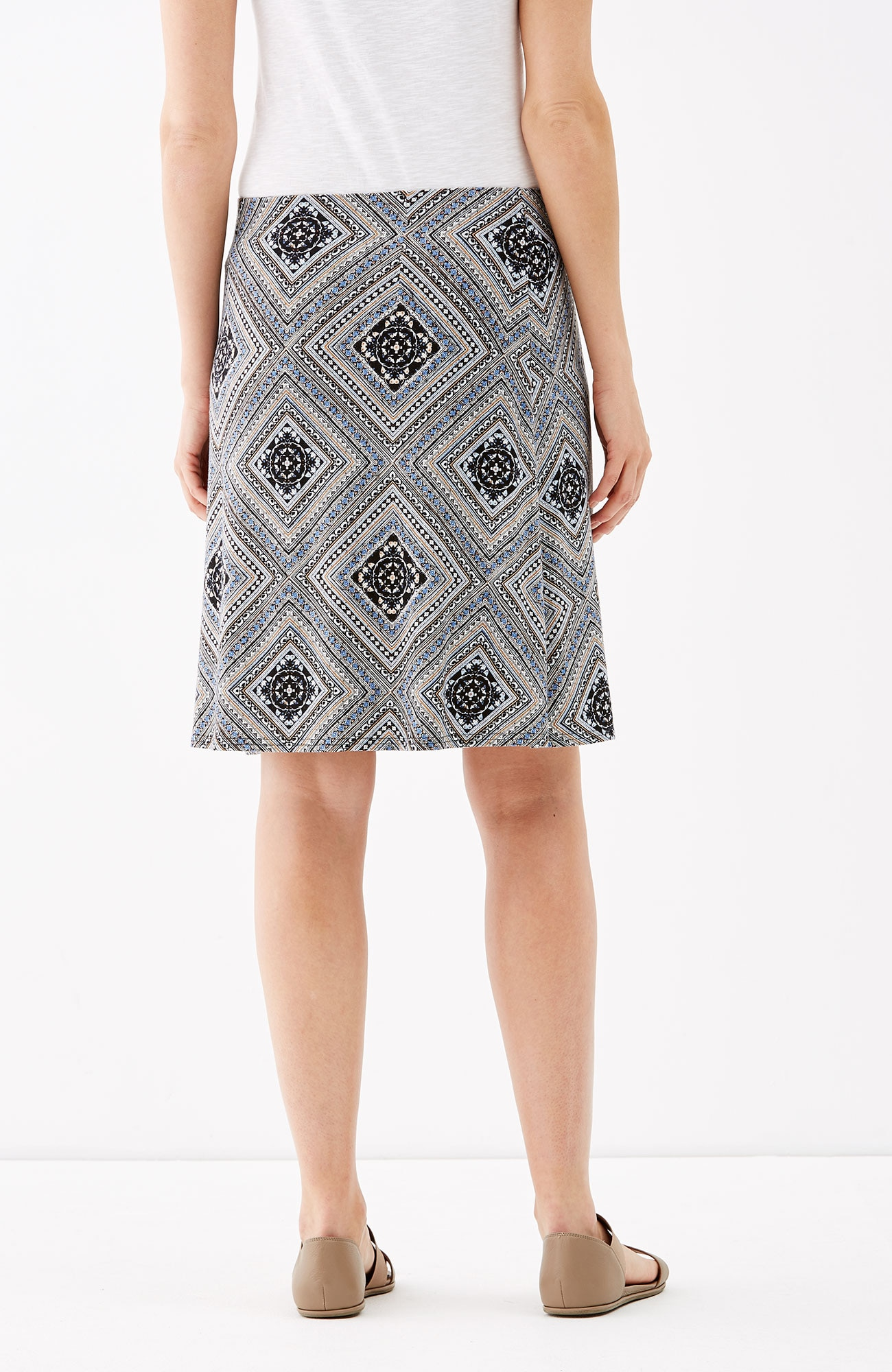 printed knit A-line skirt