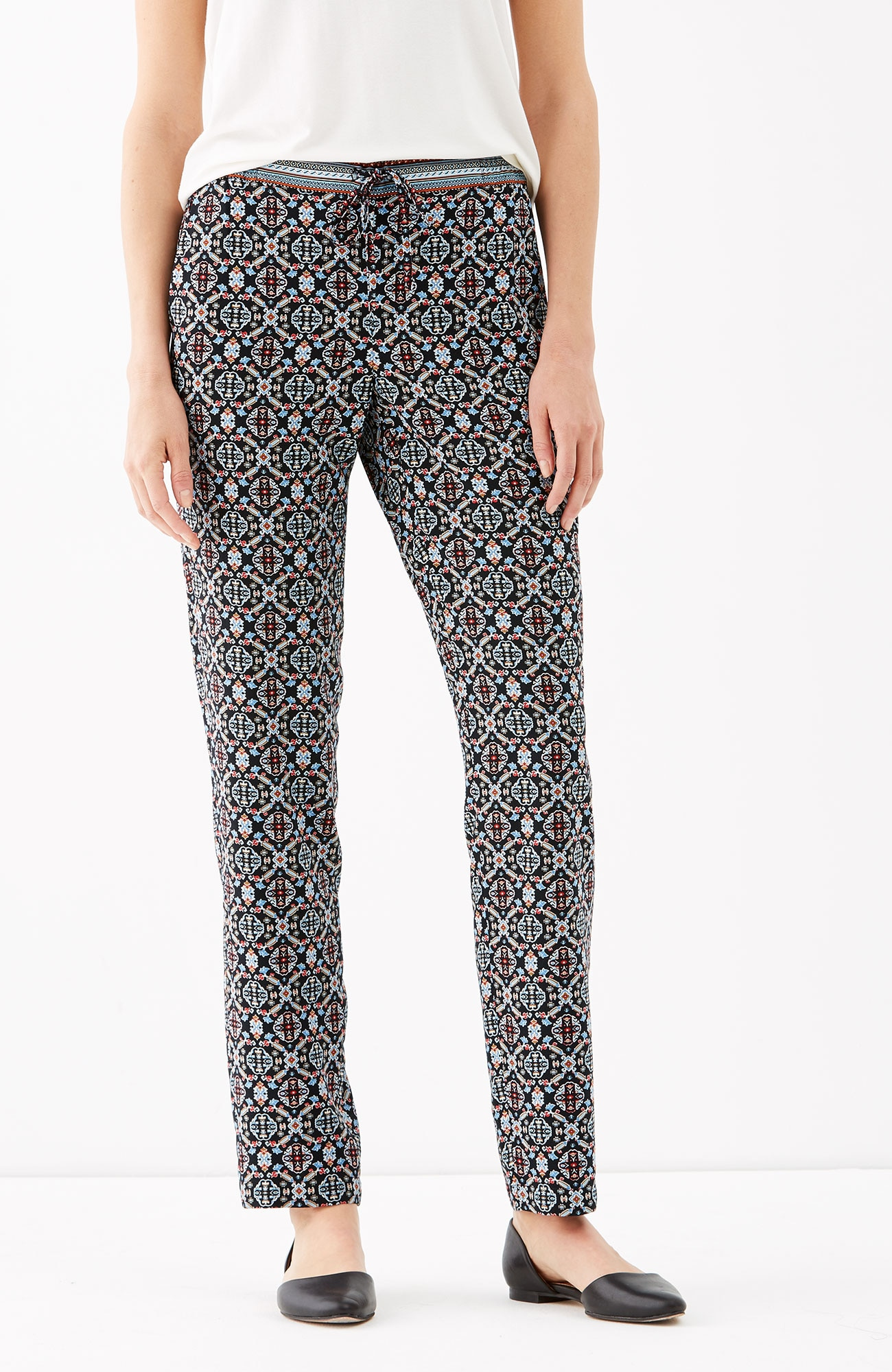 printed rayon easy ankle pants