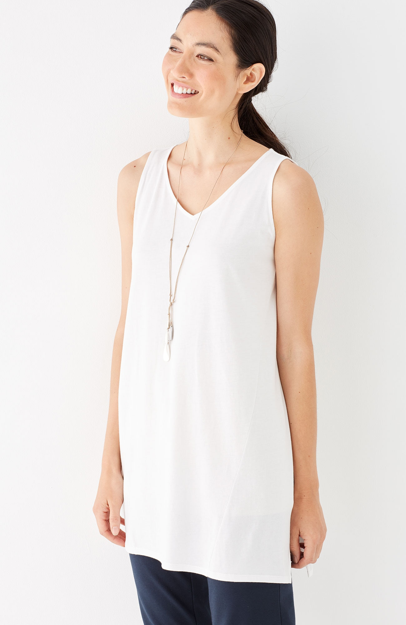 Pure Jill sleeveless dipped-hem tunic