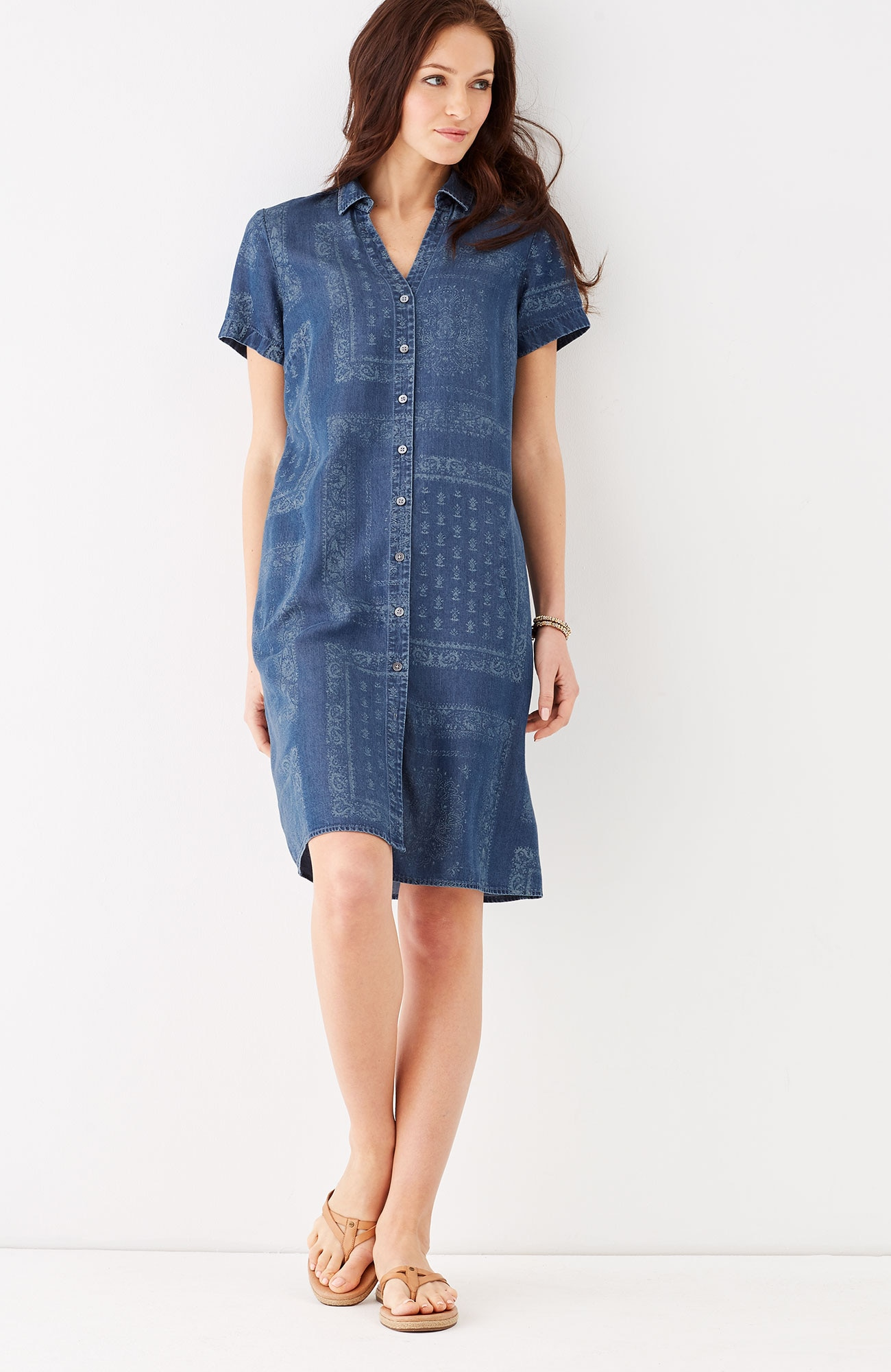 Tencel® indigo print shirtdress