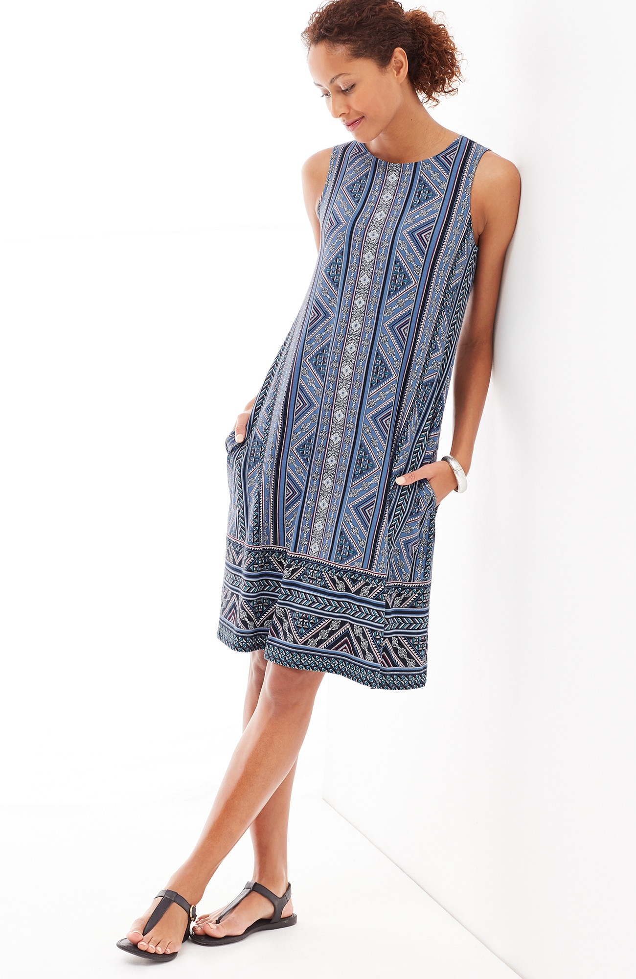 mixed-print A-line knit dress
