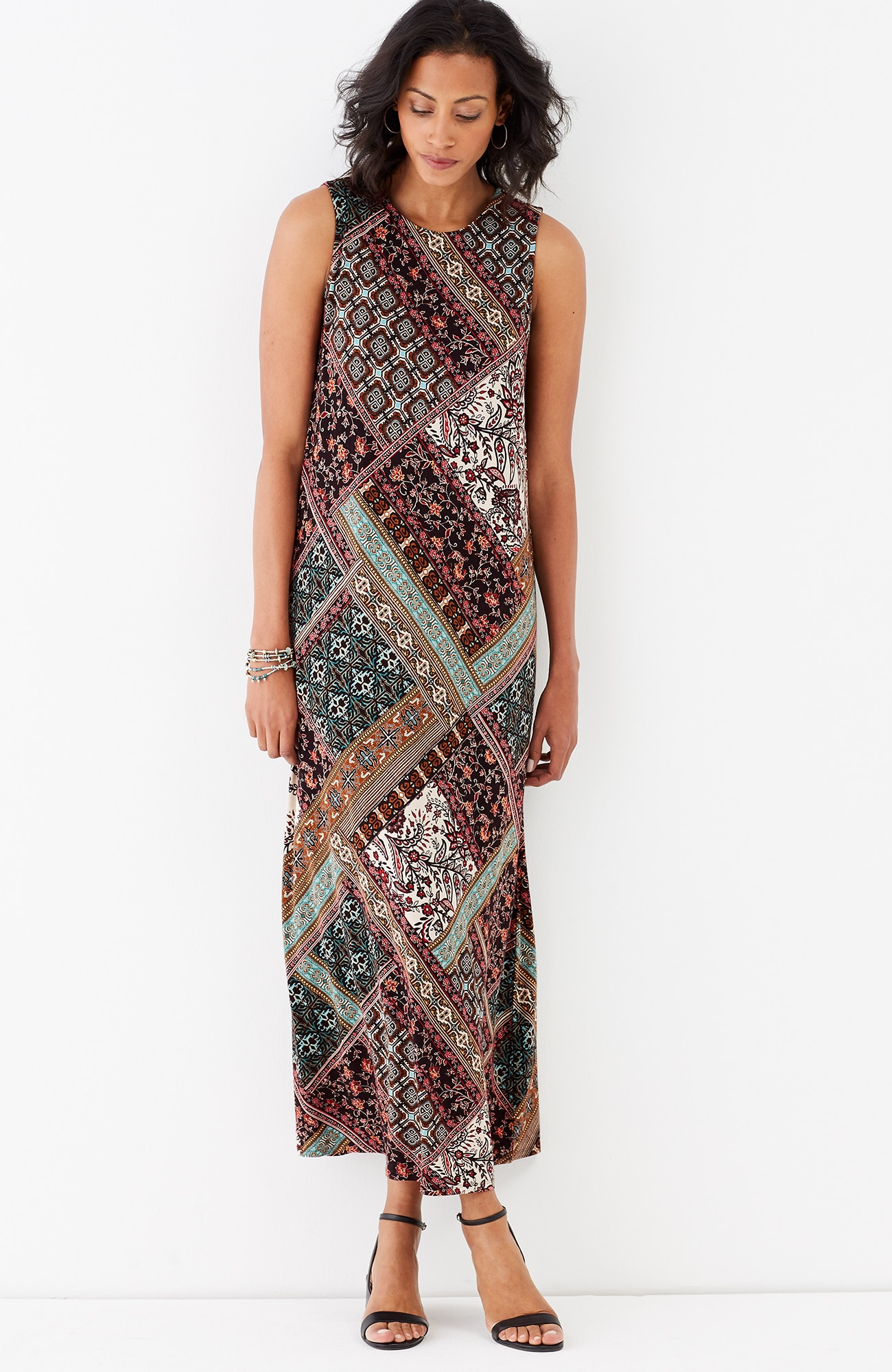 patchwork-print knit maxi dress