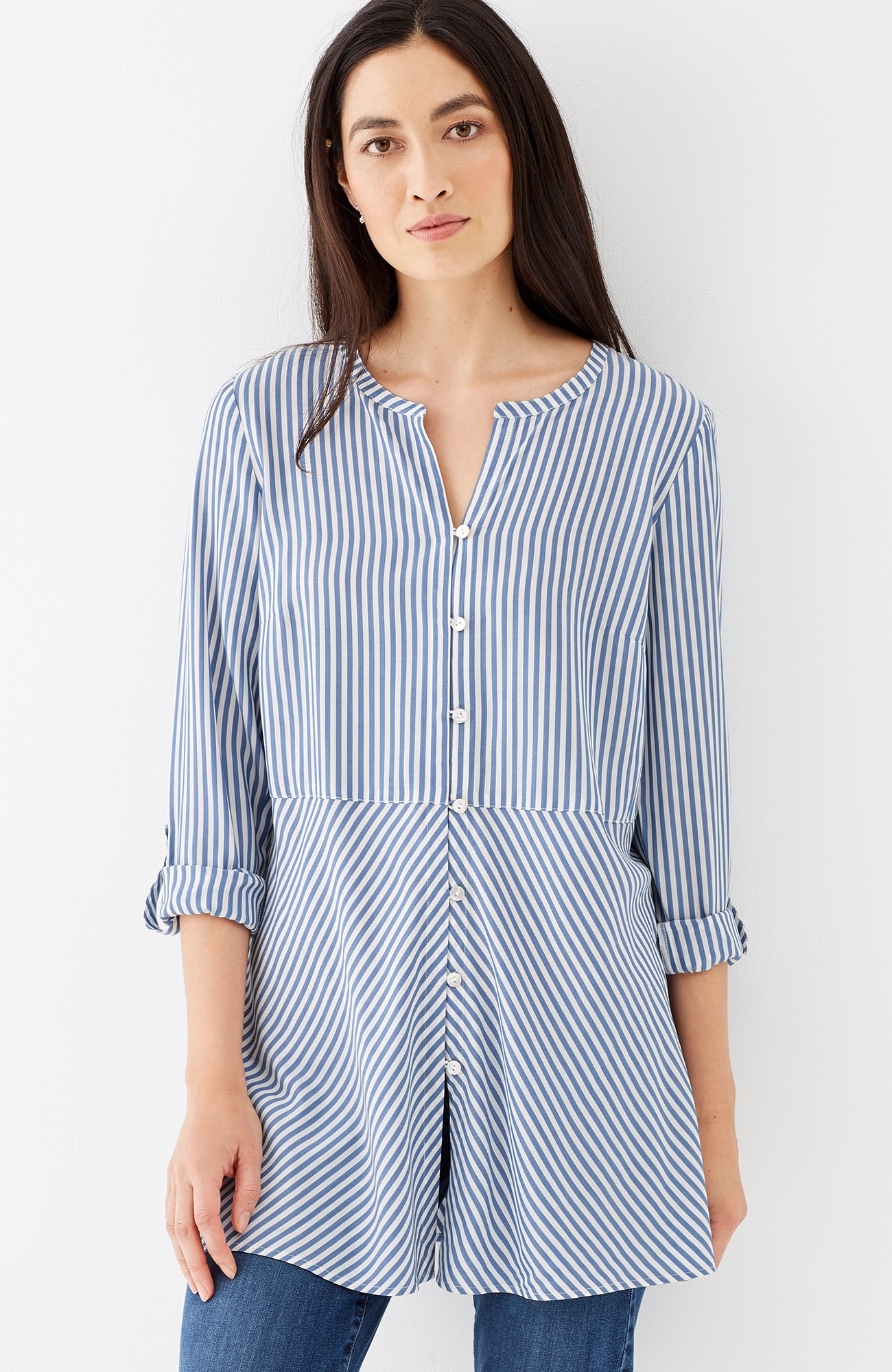 striped tab-sleeve tunic