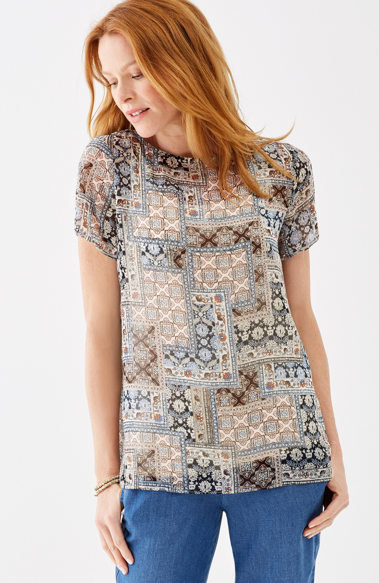 breezy patchwork-print top