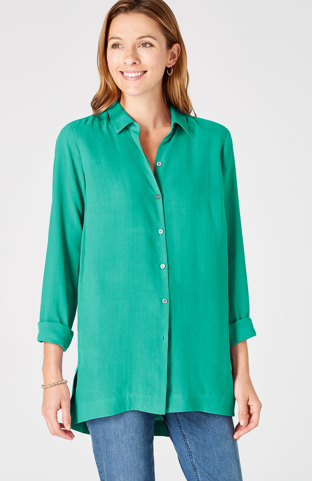 silk forward-seam tunic