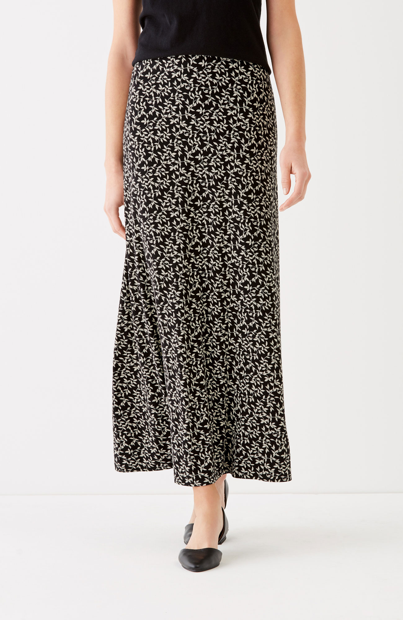 printed easy knit maxi skirt