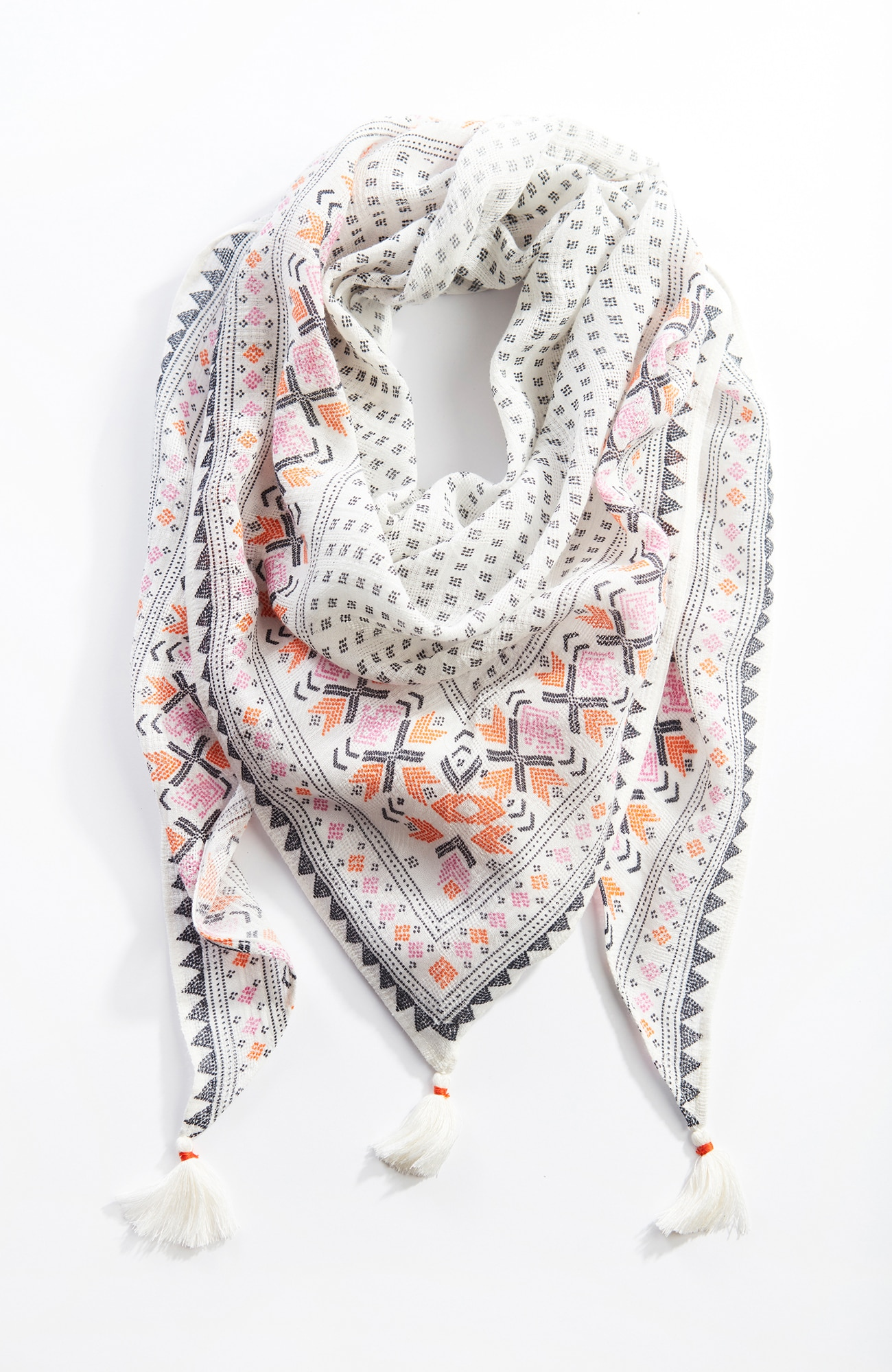 tasseled triangle scarf