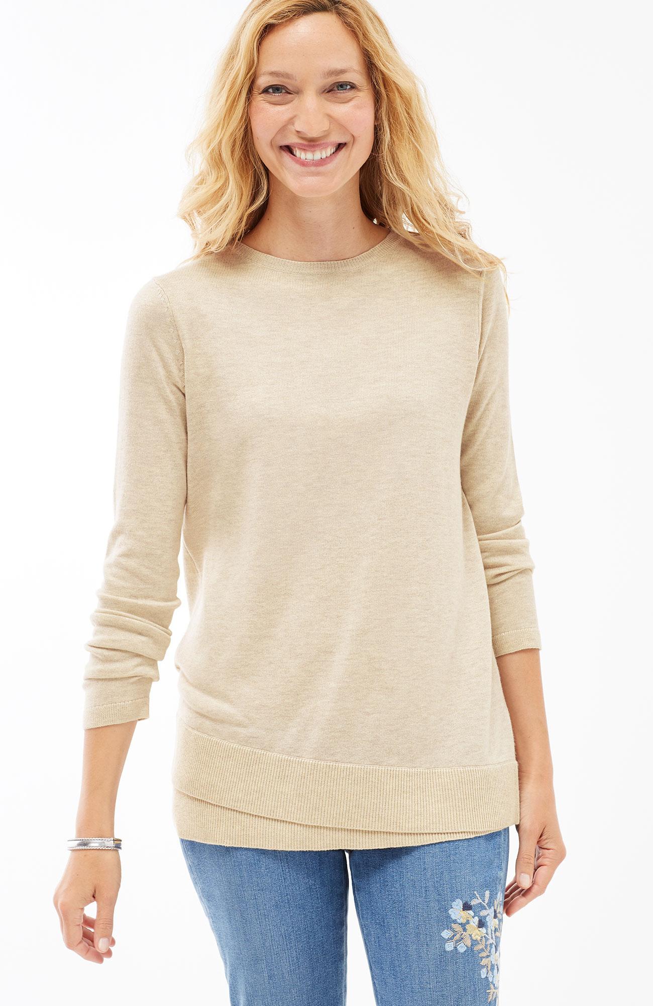 layered-hem pullover