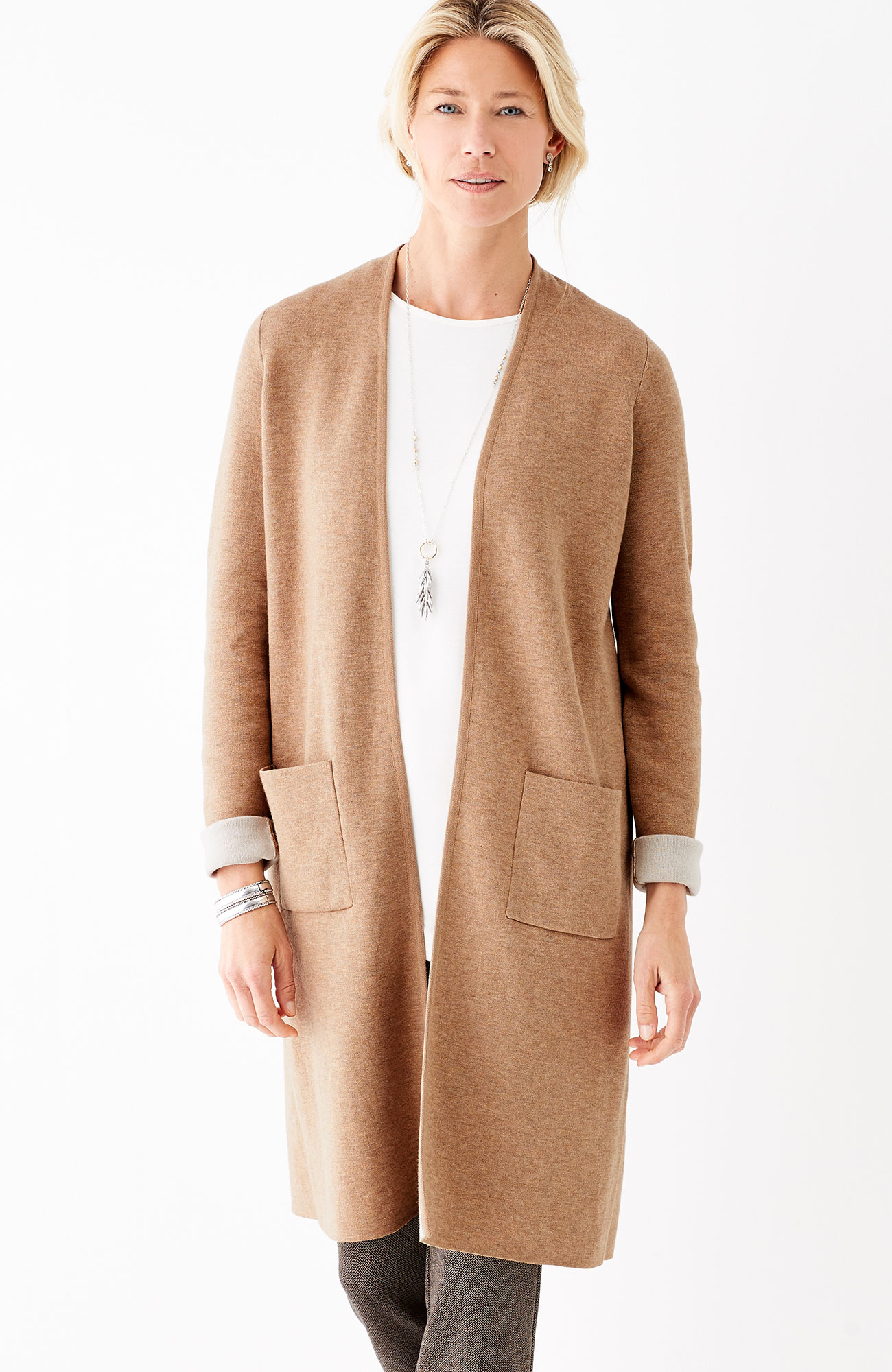 long double-faced cardi