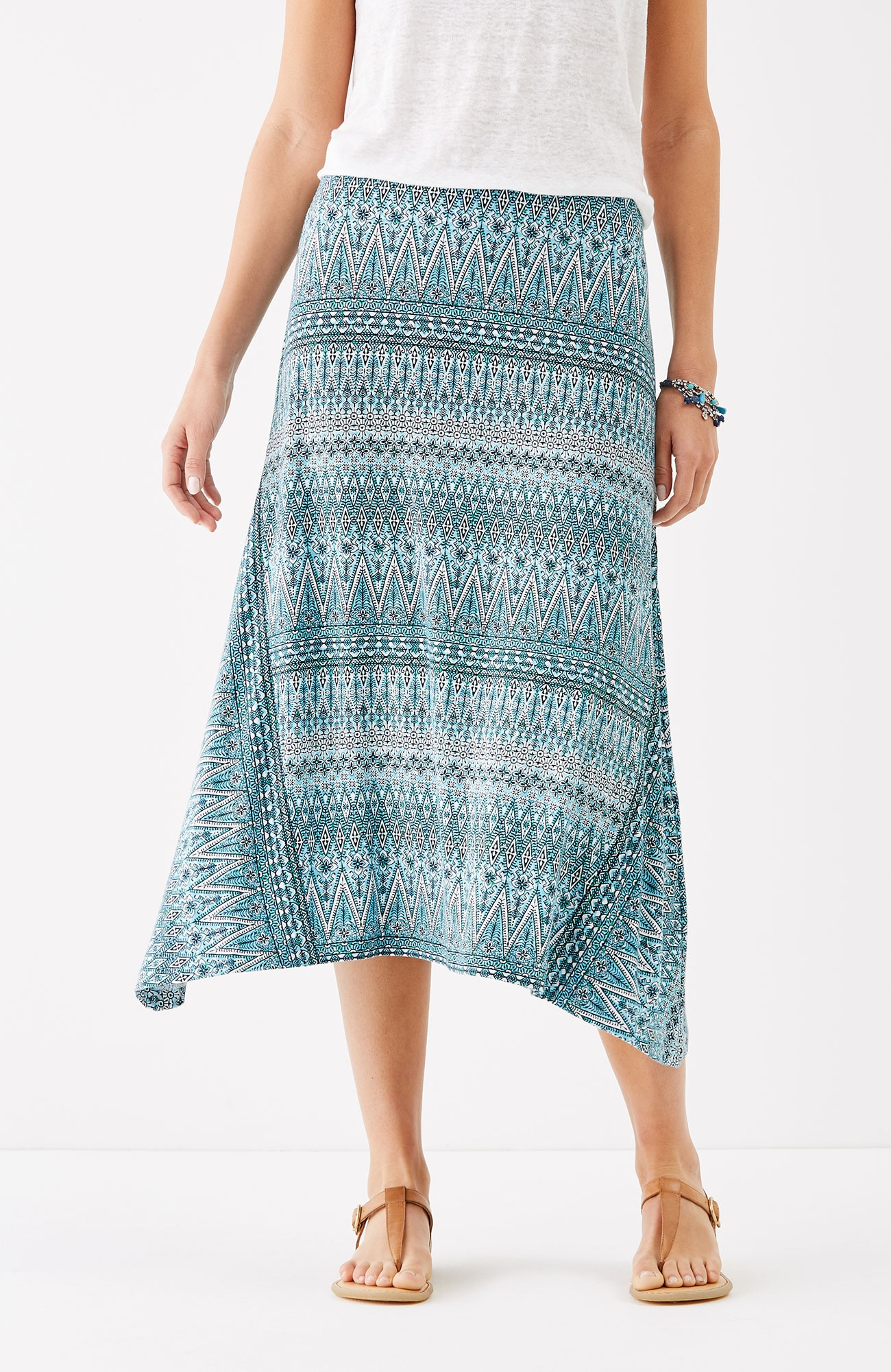 dipped-hem printed knit skirt