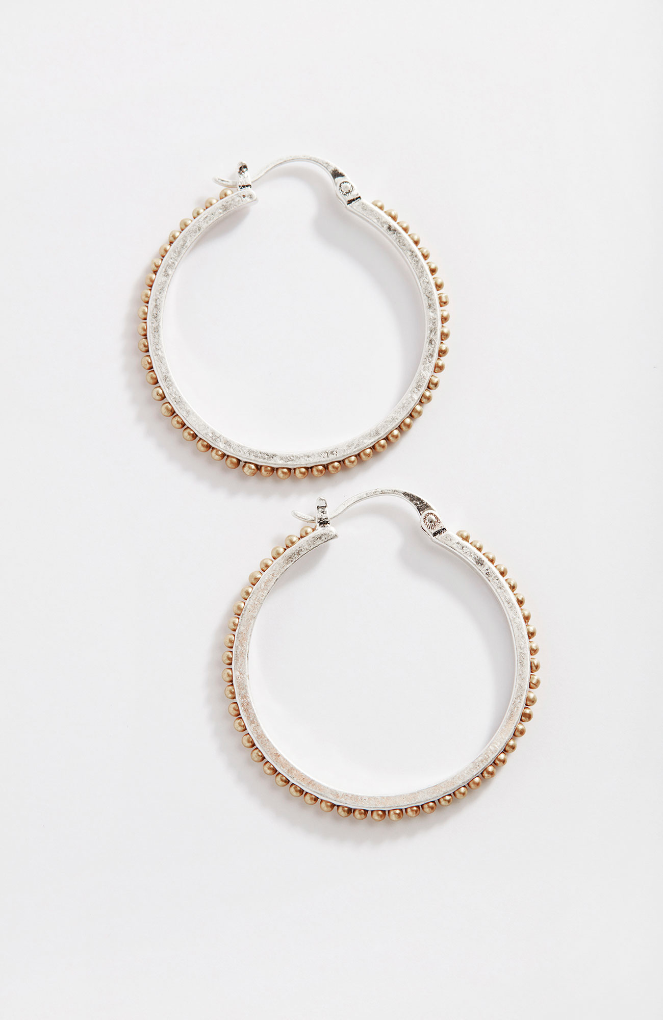 mixed-metal textured hoops