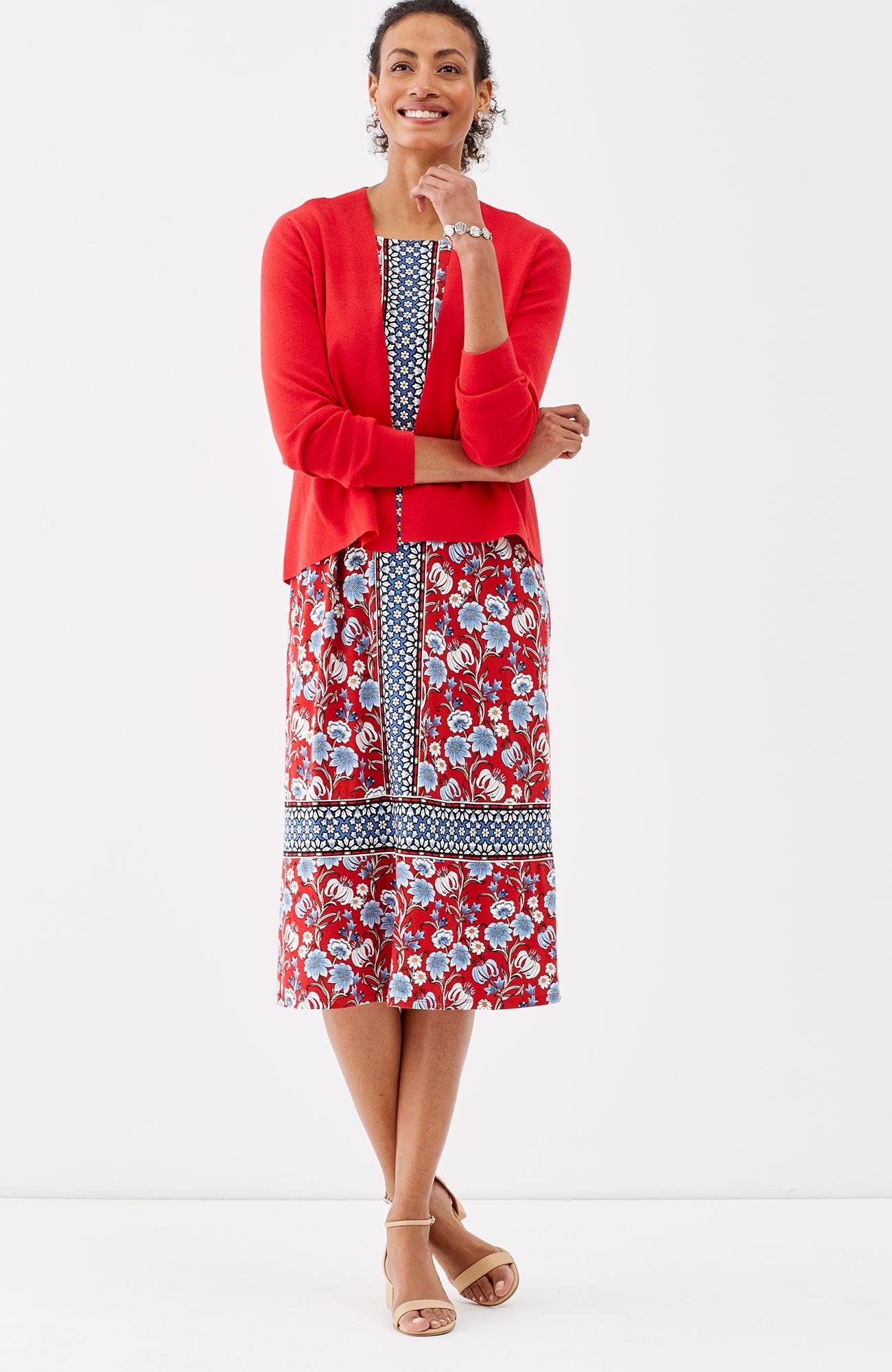floral knit A-line dress