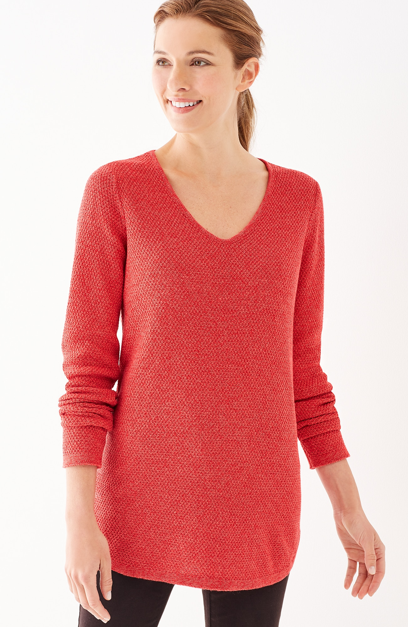 textured shirttail pullover