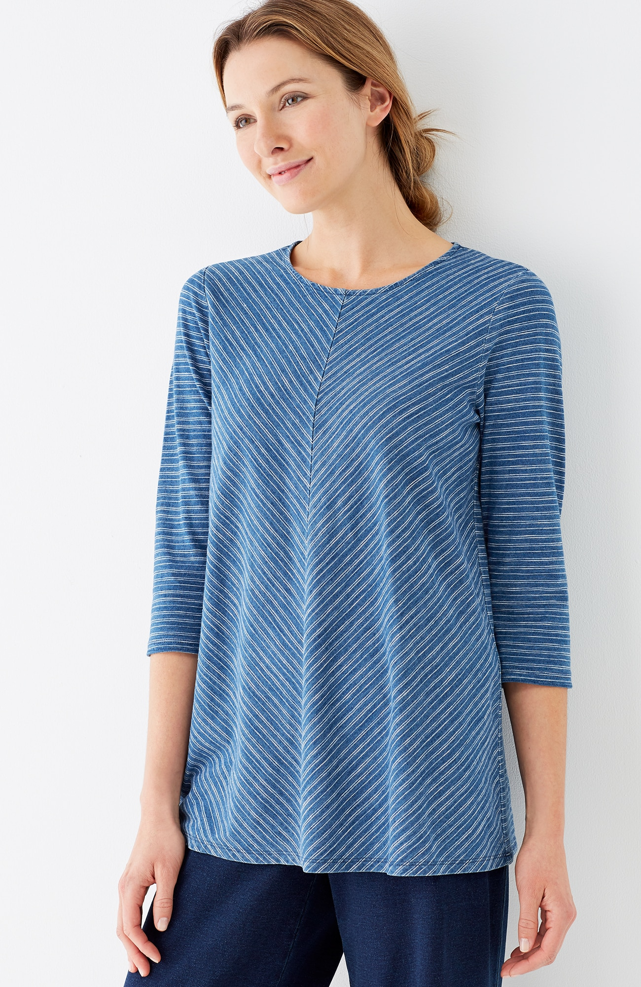 Pure Jill indigo knit swing top