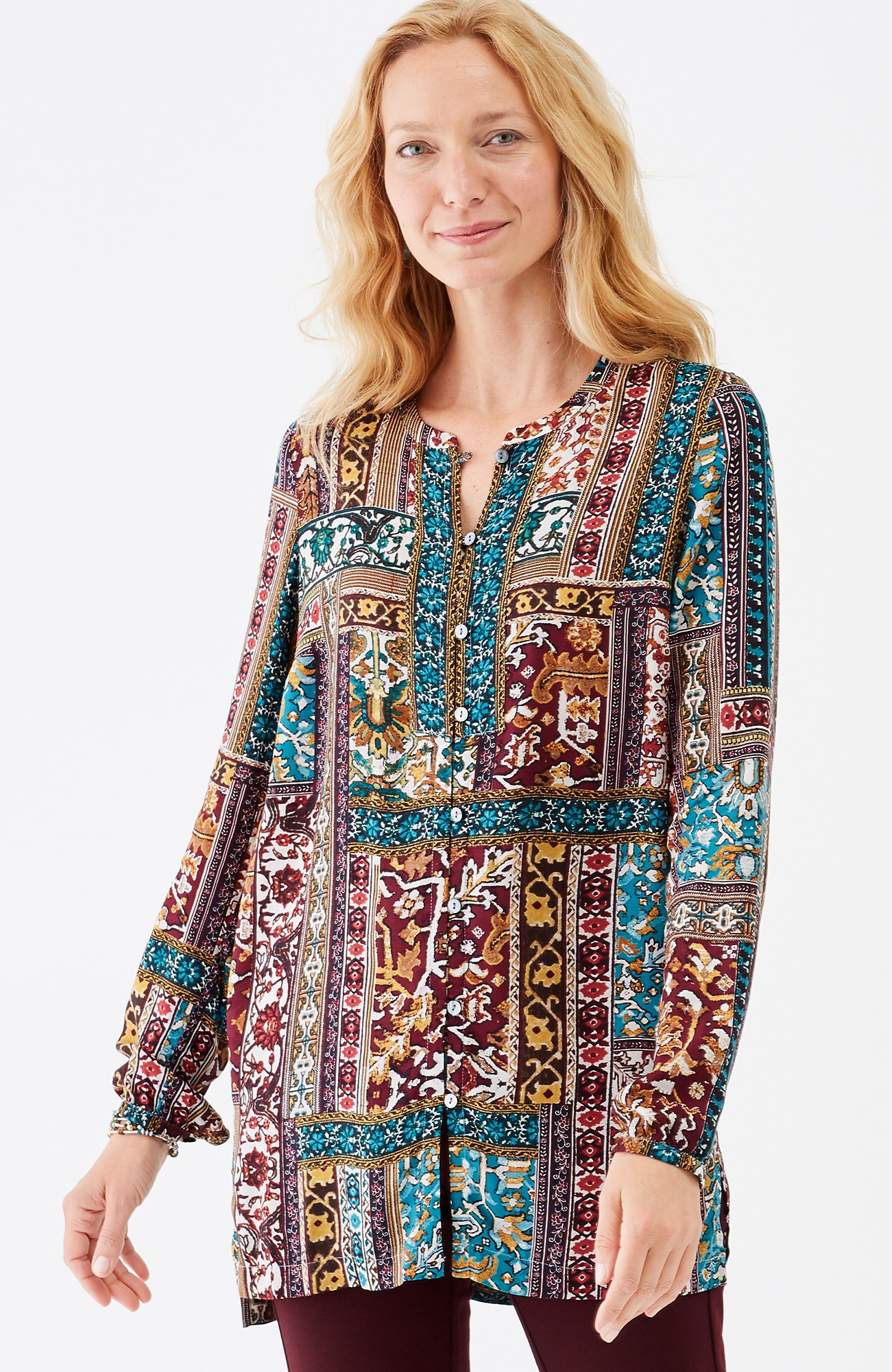 patchwork-print button-front tunic