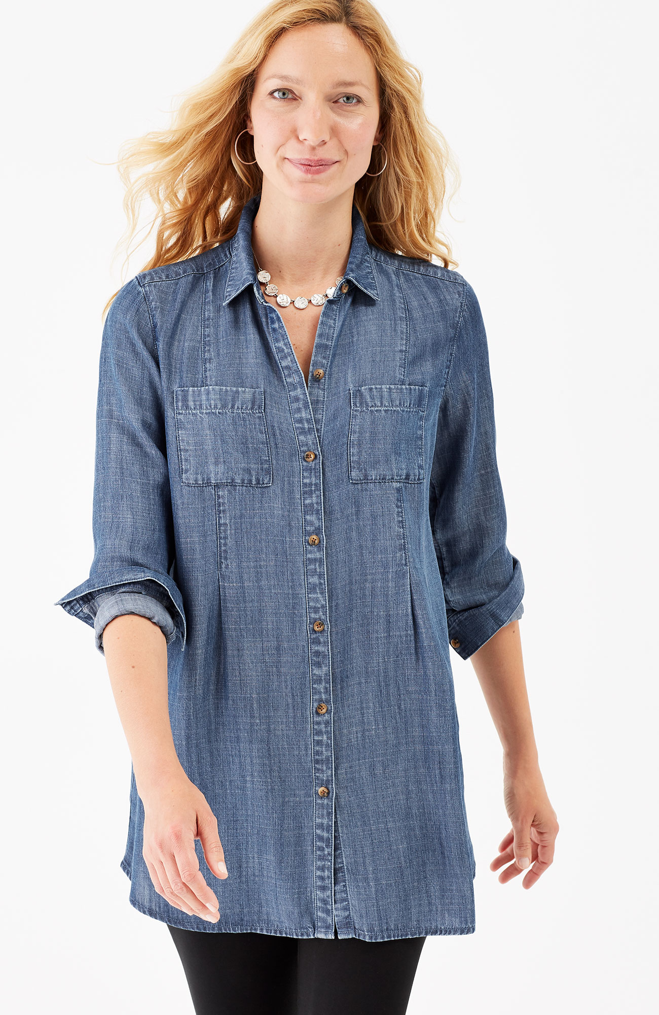 Tencel® indigo pleated tunic