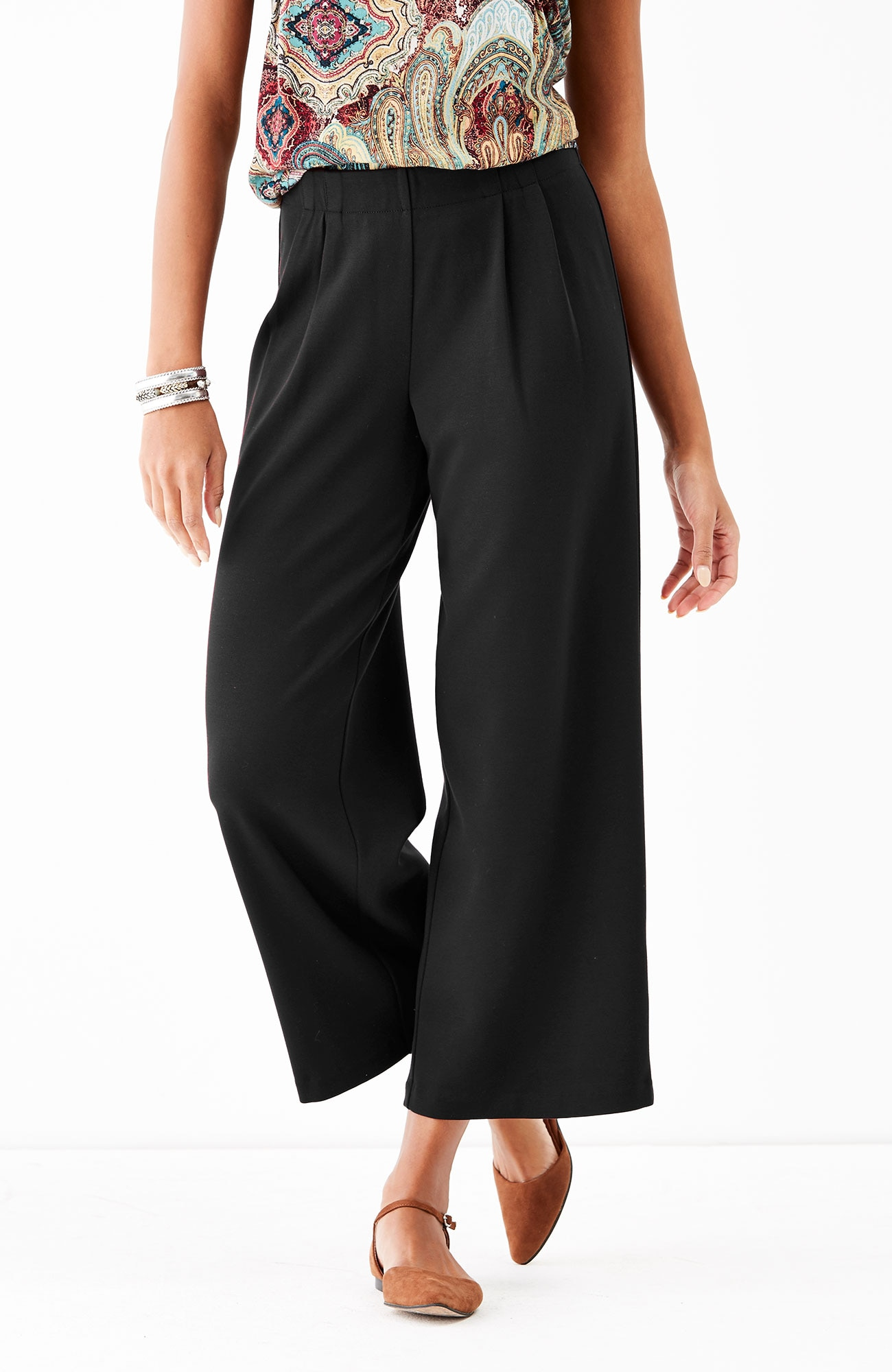 ponte knit pleated full-leg crops
