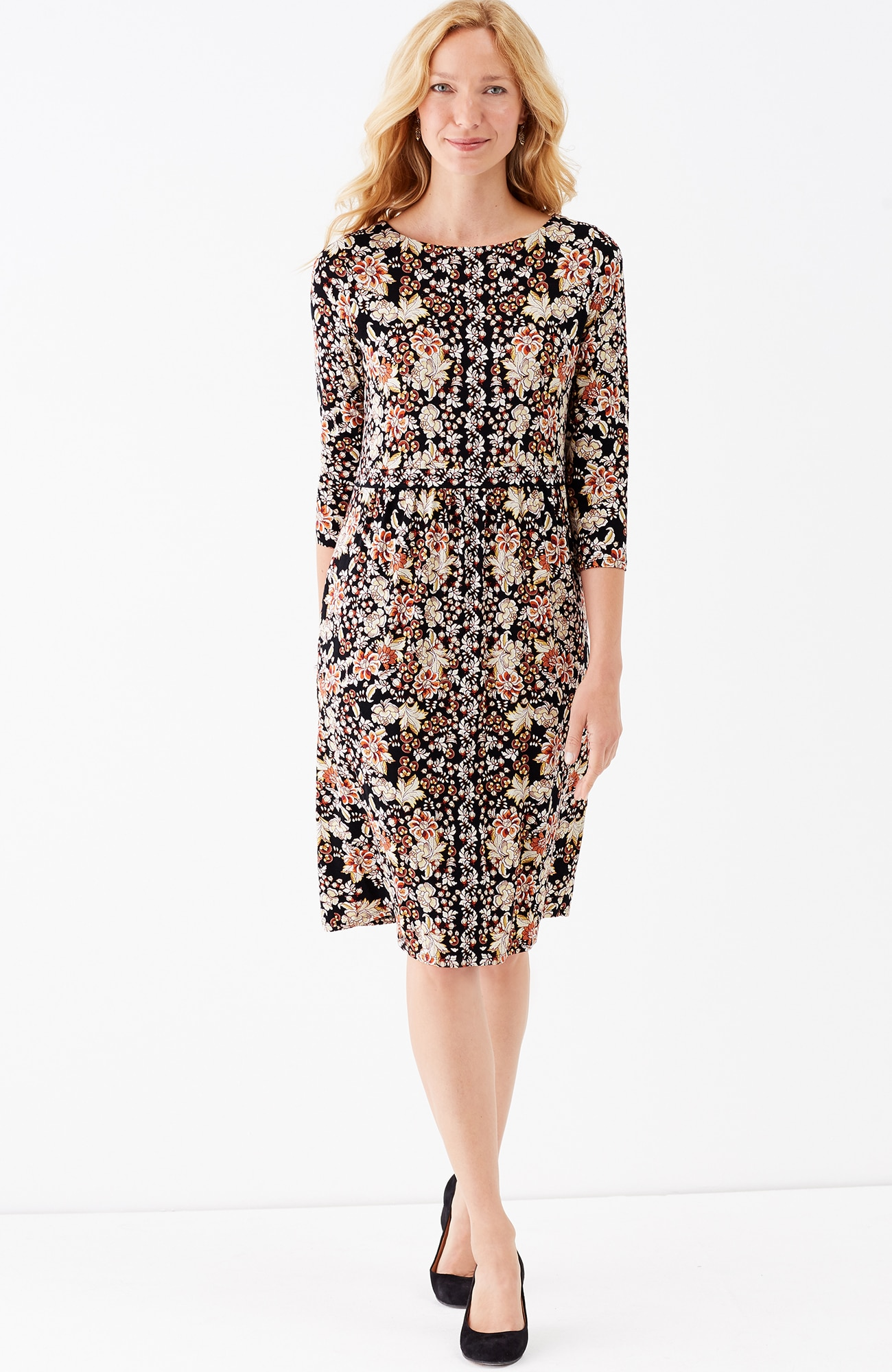 printed shirred-waist knit dress