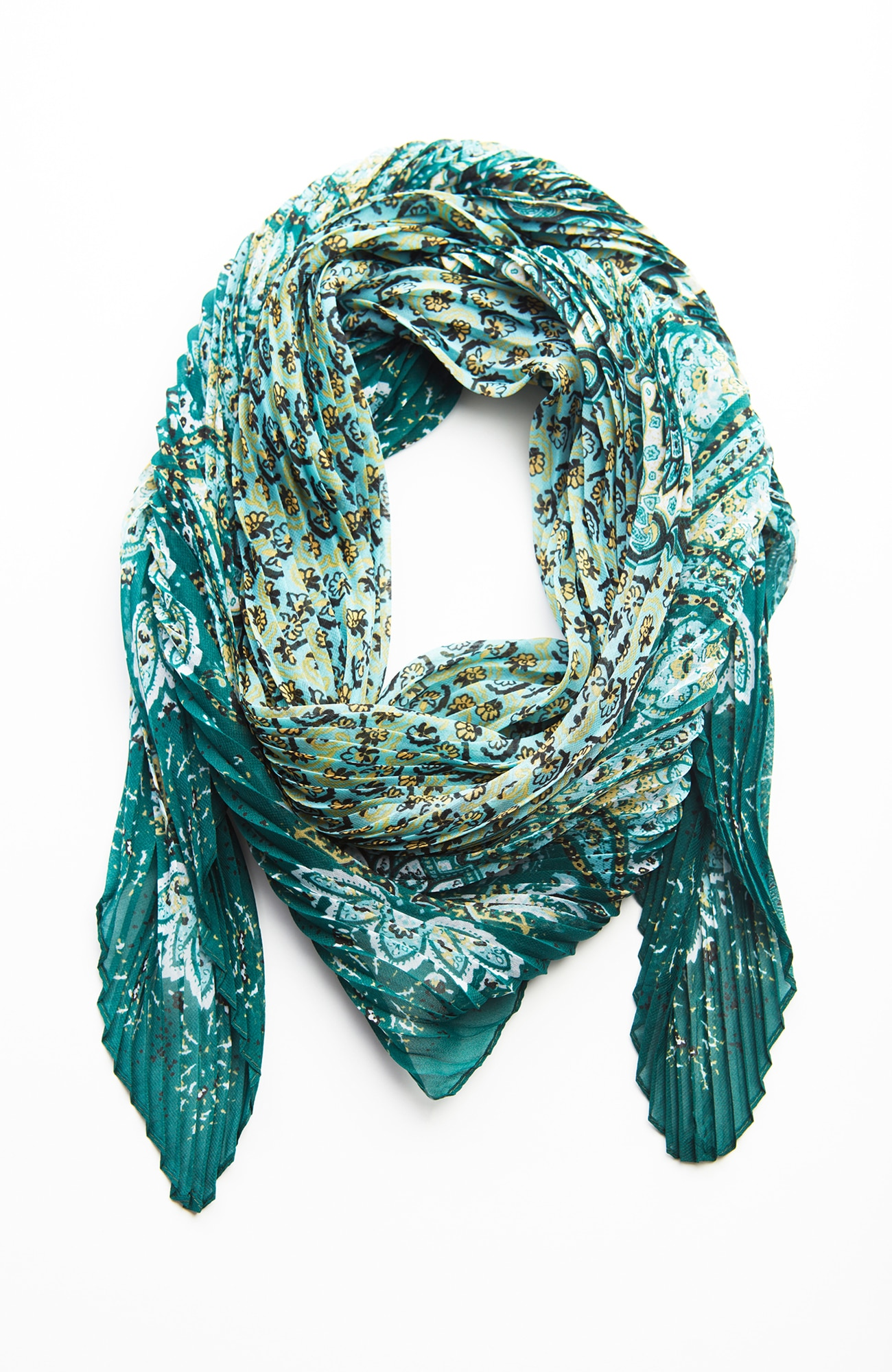 pleated mixed-paisley square scarf