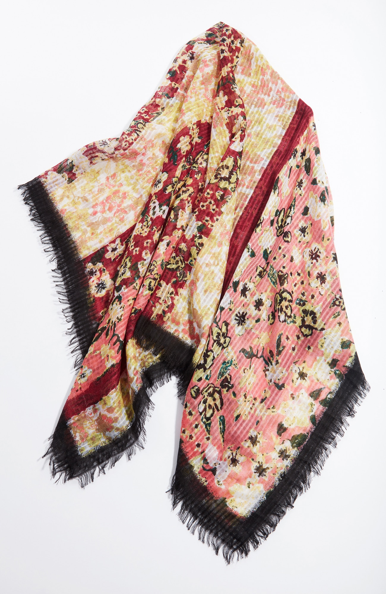 floral stripes airy square scarf