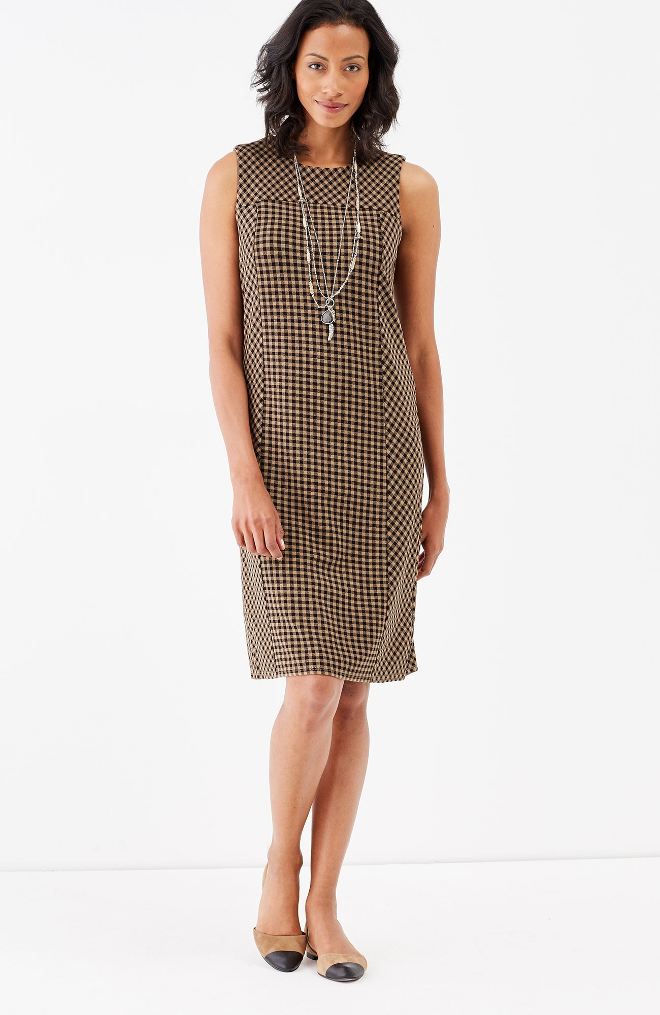 ponte knit seamed sleeveless dress