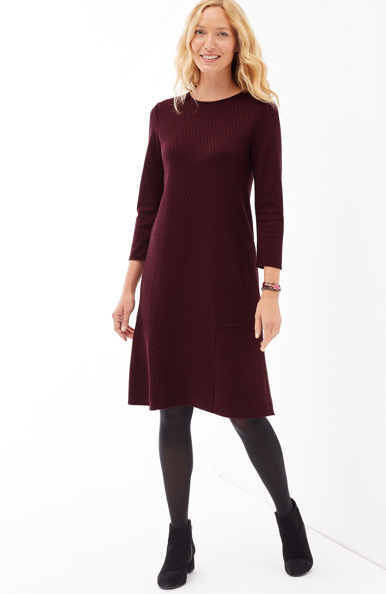 ponte knit seamed 3/4-sleeve dress