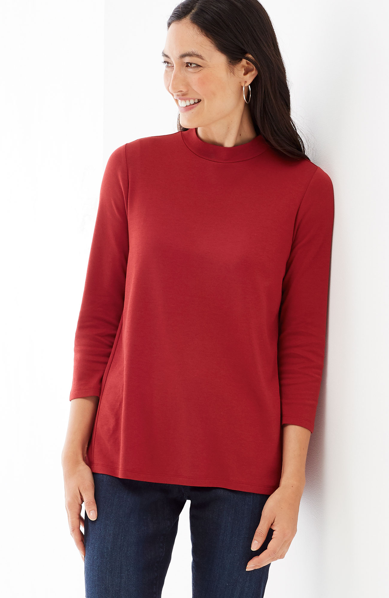 elliptical mock-neck top