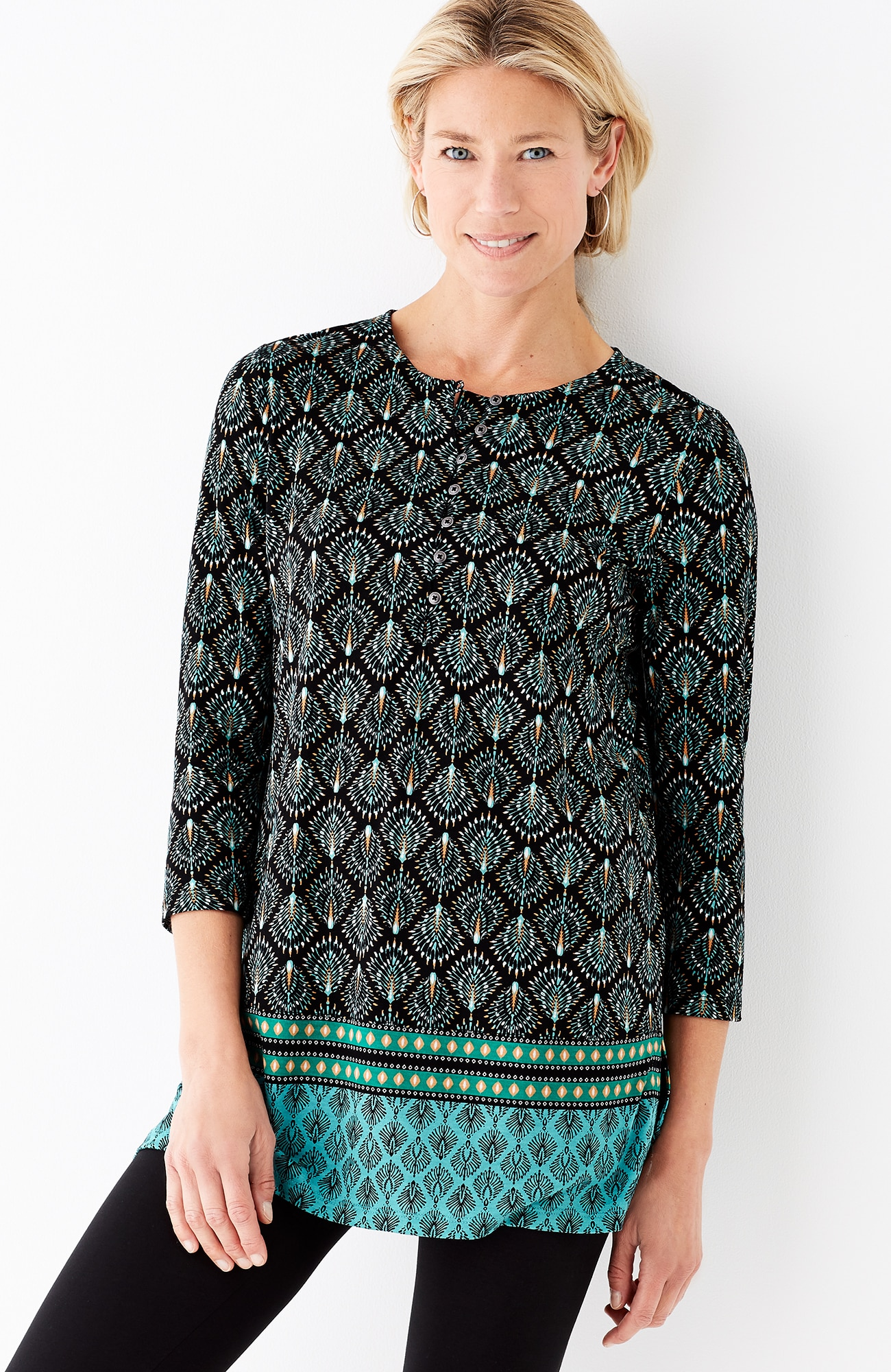 border-print knit tunic