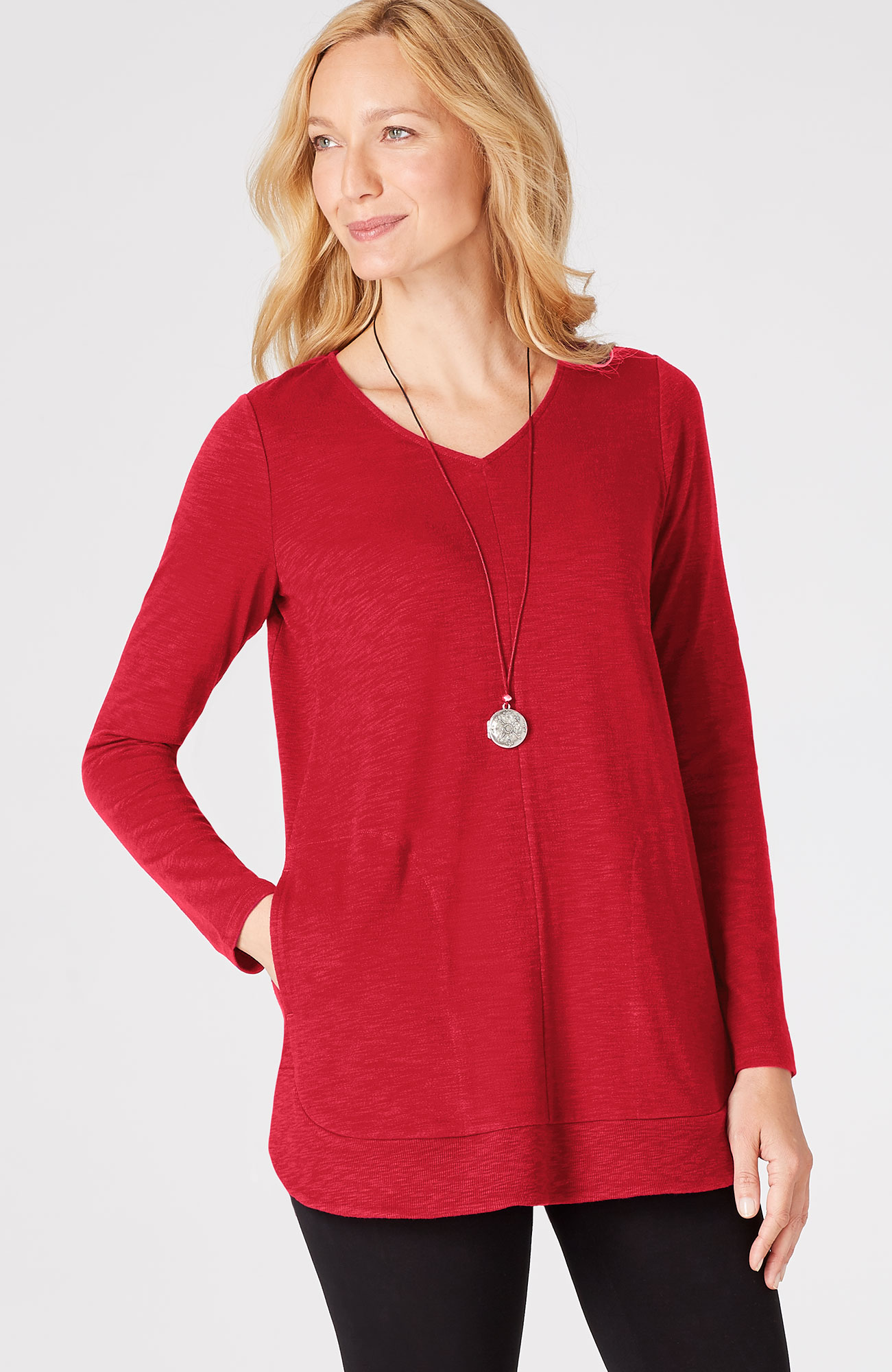 knit shirttail tunic