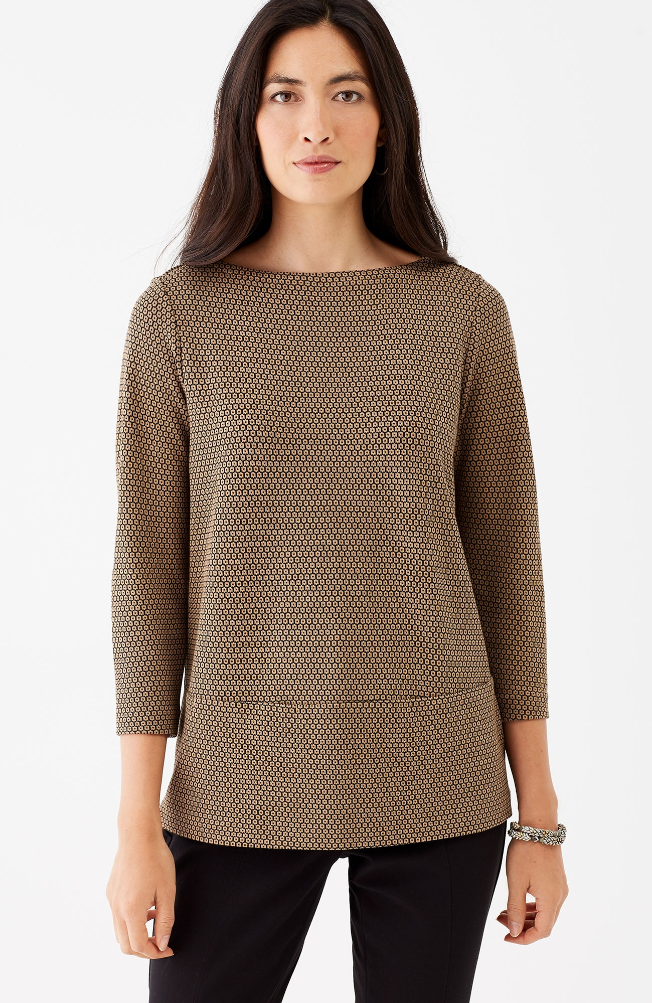 ponte knit boat-neck top