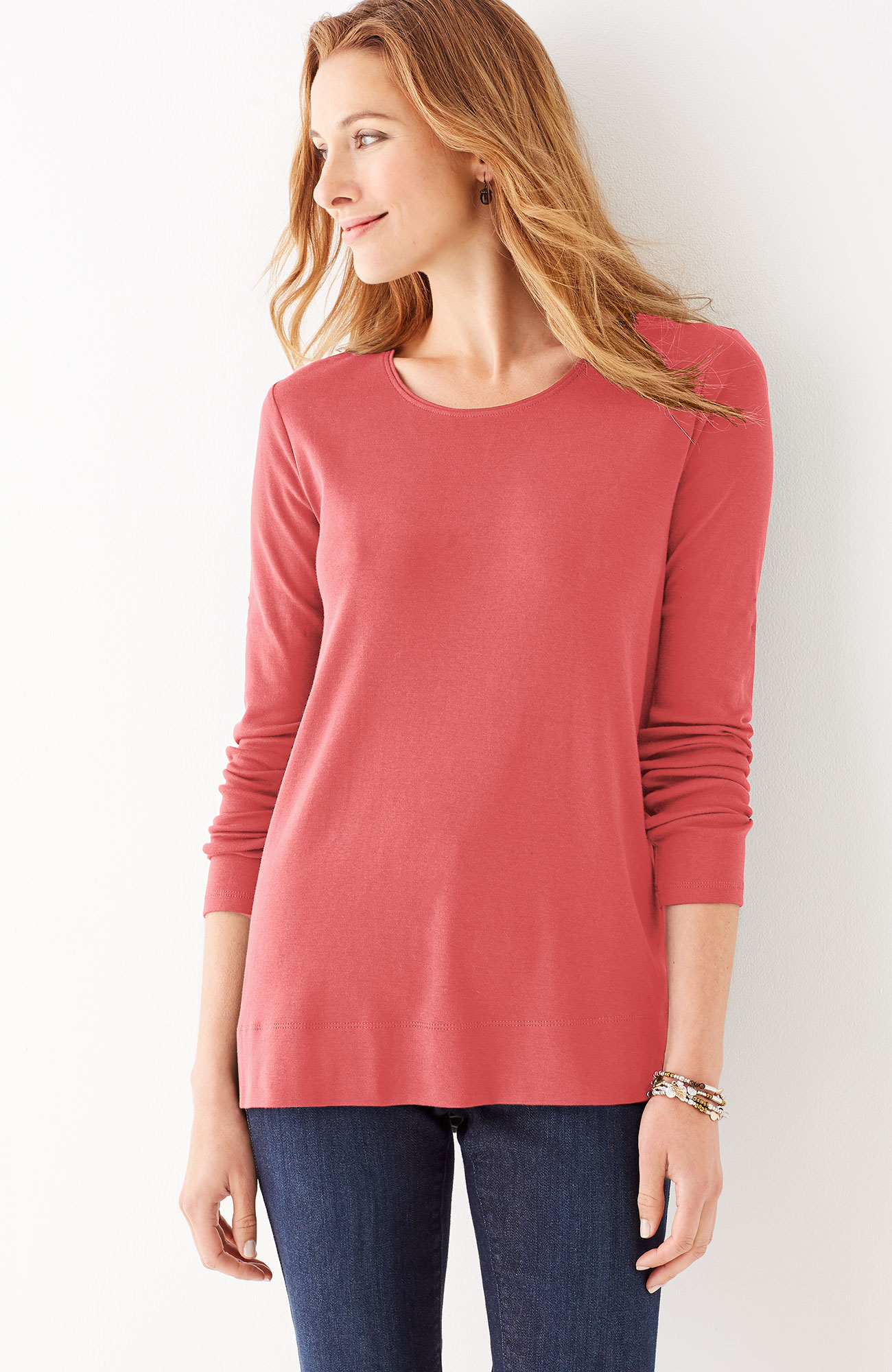 perfect pima high-low long-sleeve tee