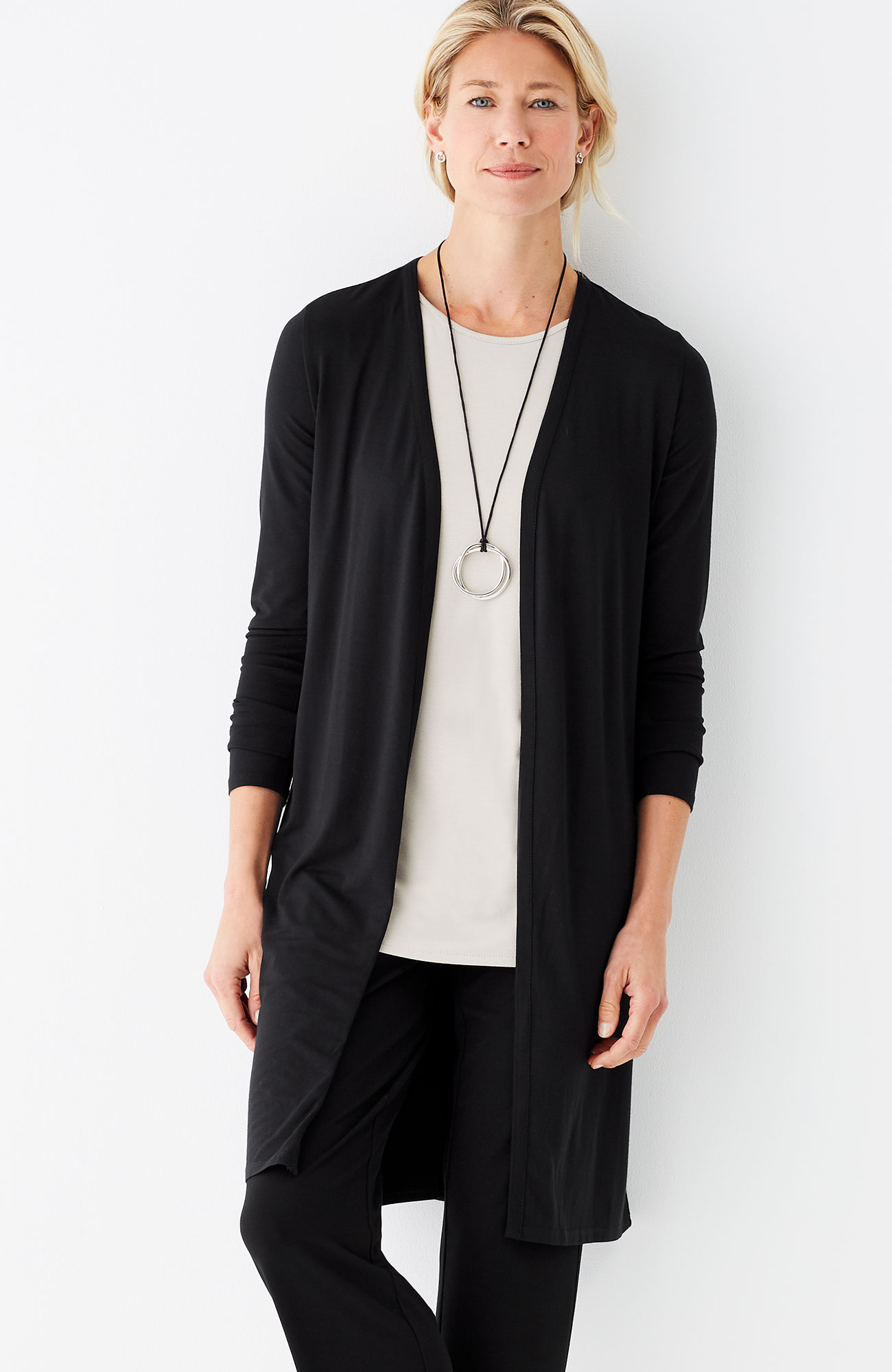 Wearever layered-back long jacket