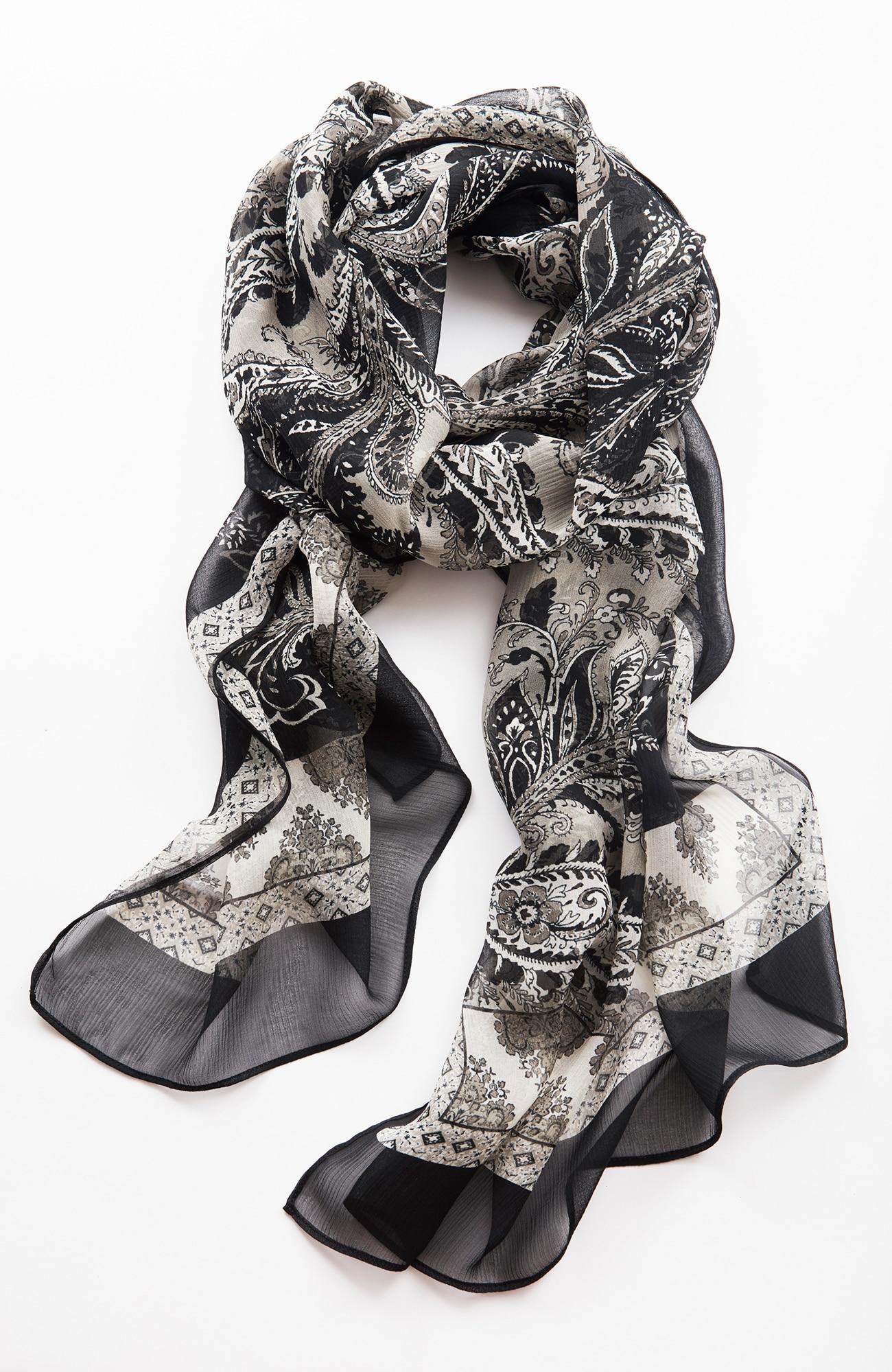 silk paisley-border scarf