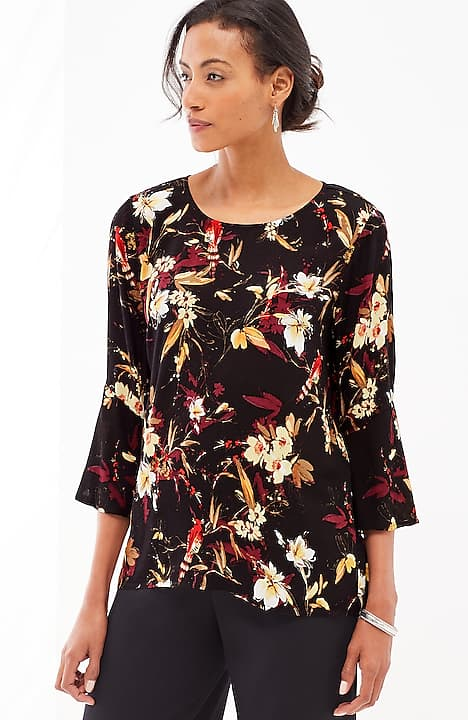 4891f022f216c8 alternate image 1 of Floral Bell-Sleeve Top