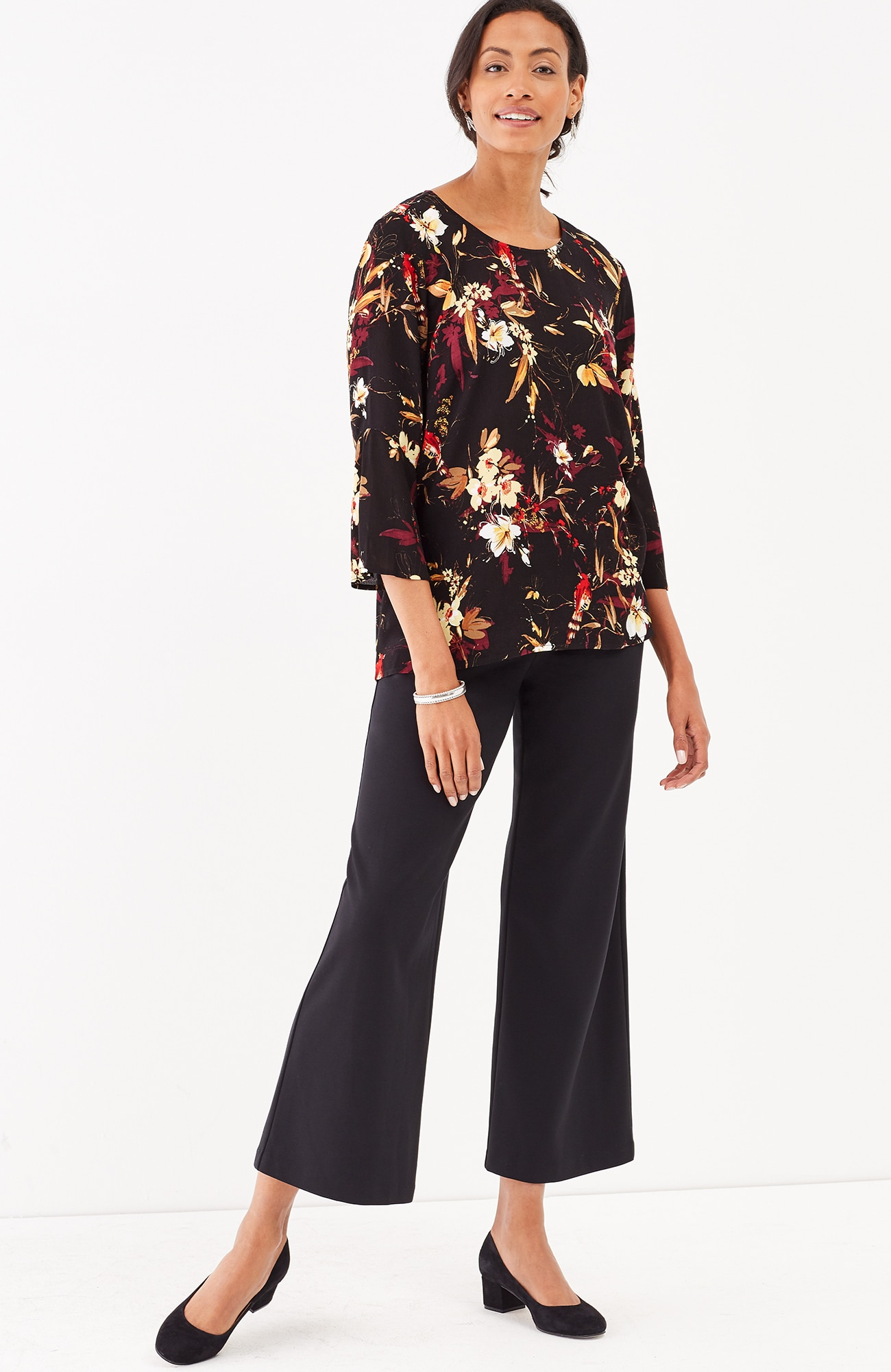 floral bell-sleeve top
