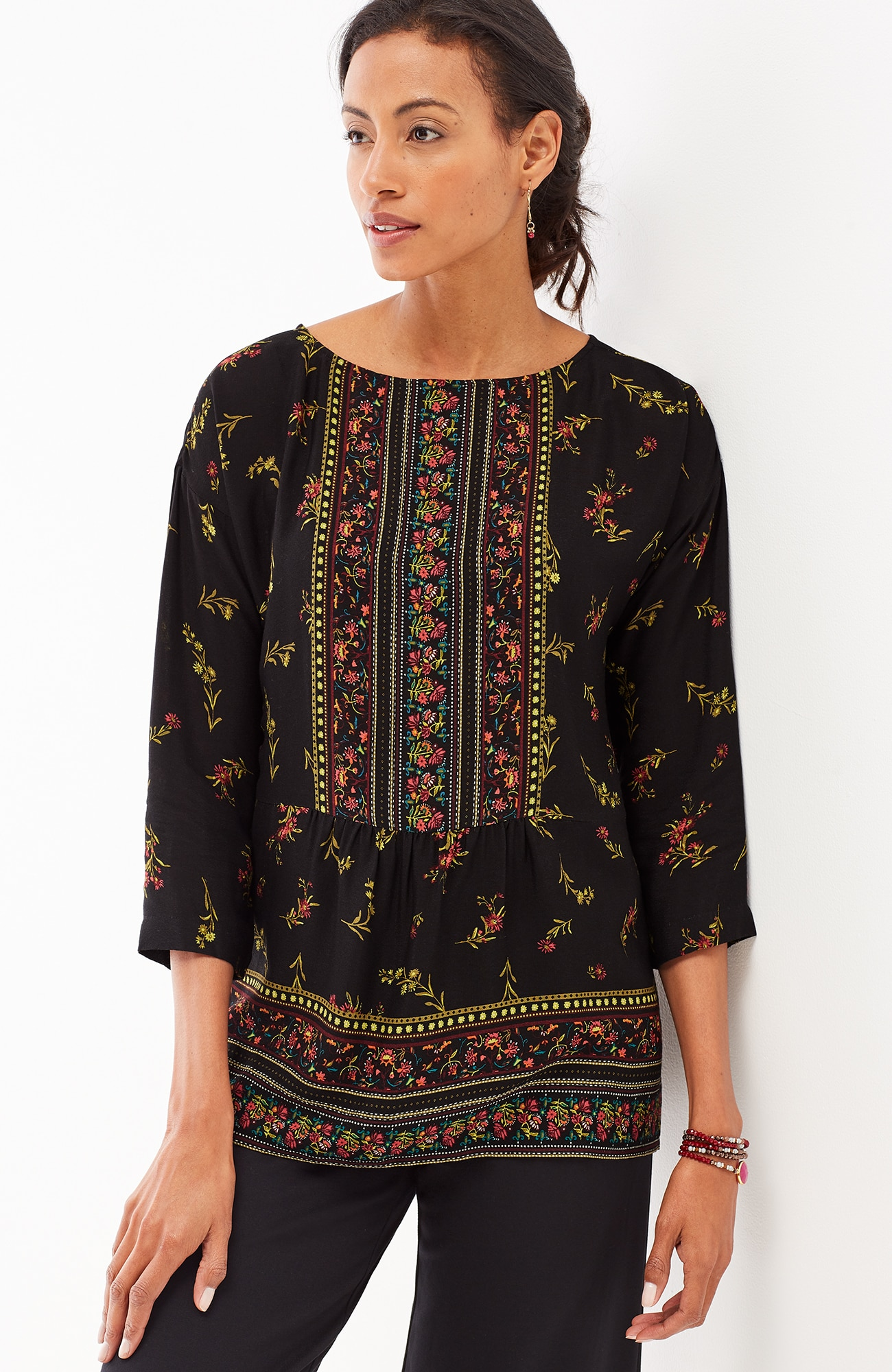 border-print boat-neck top