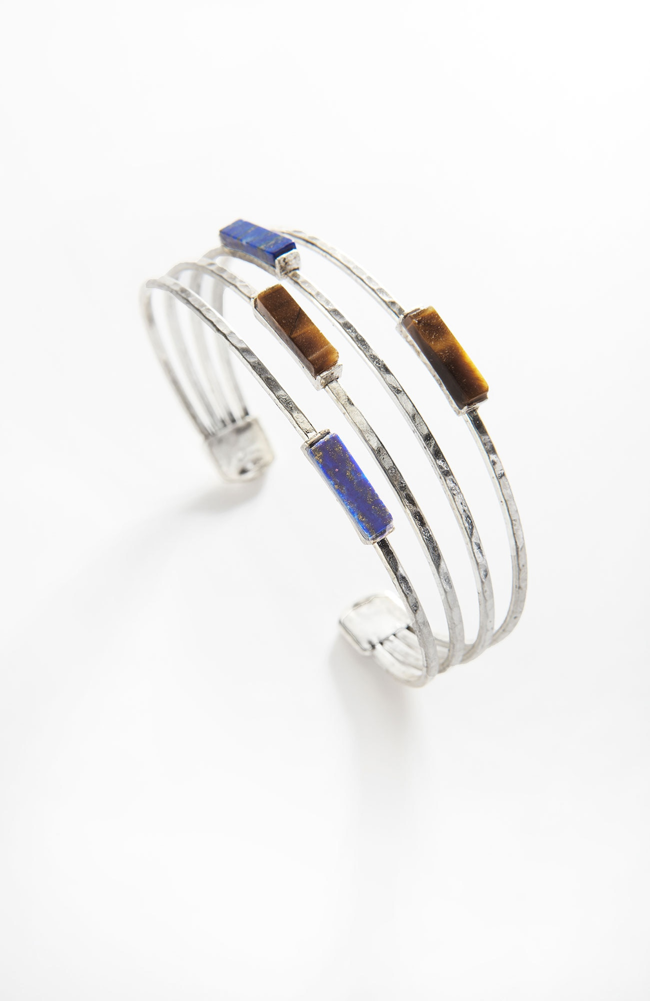 lapis & tiger's-eye cuff